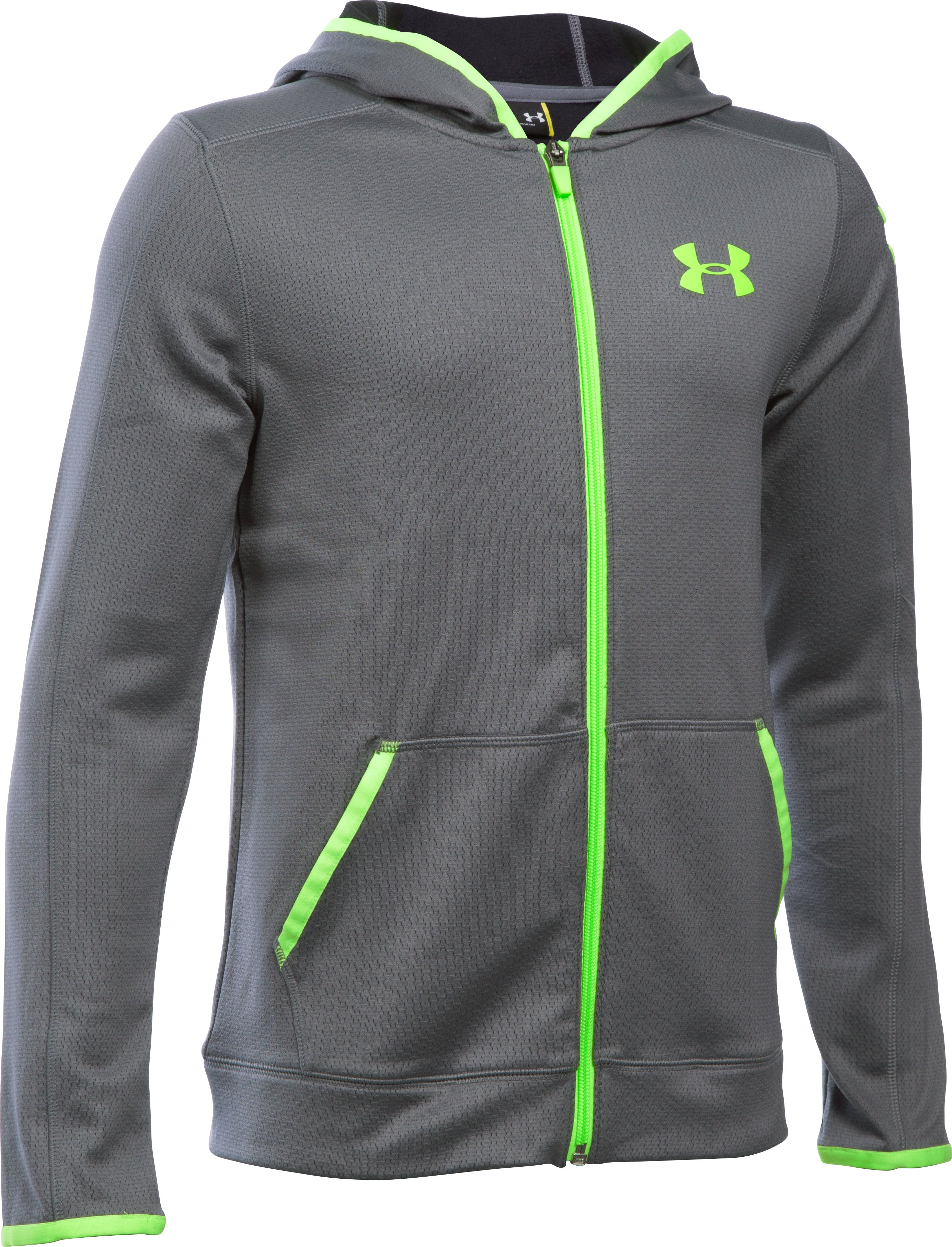 Boys' UA ColdGear® Fusion Full Zip Hoodie, Graphite, undefined
