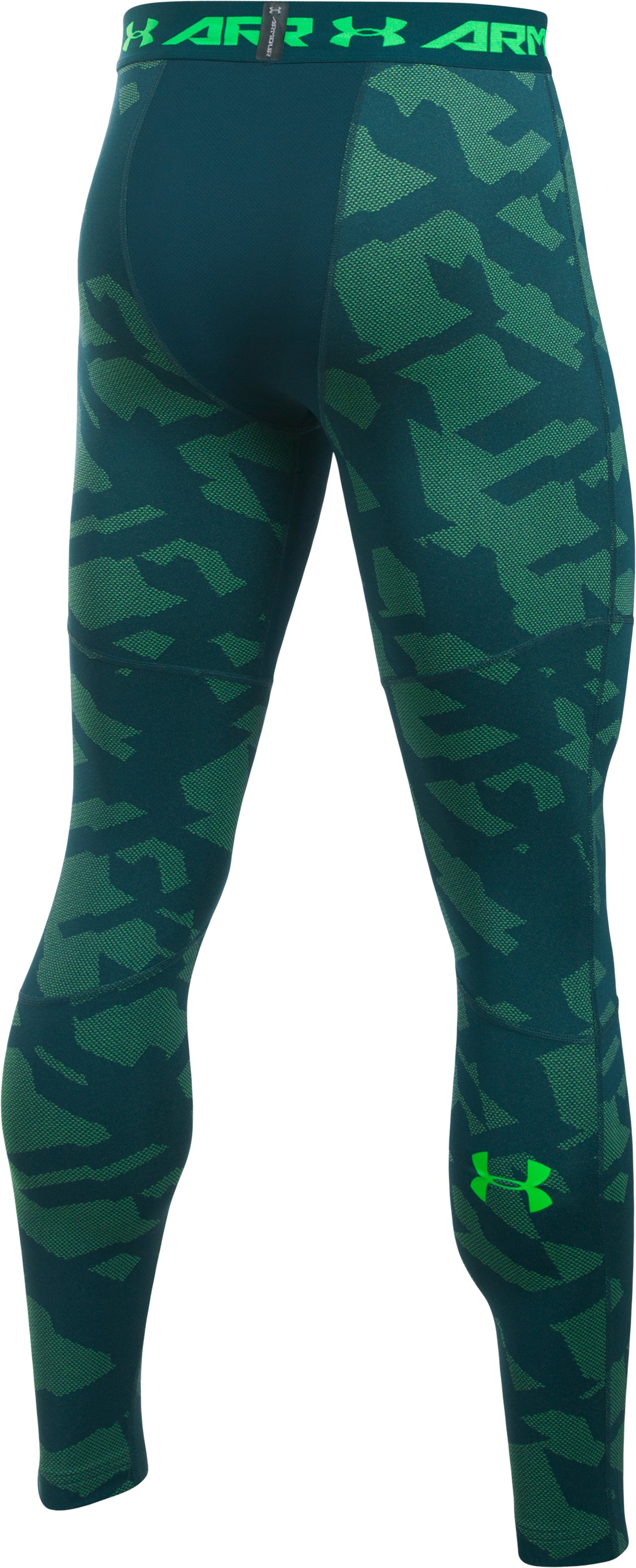 Men's UA ColdGear® Armour Jacquard Compression Leggings, NOVA TEAL,