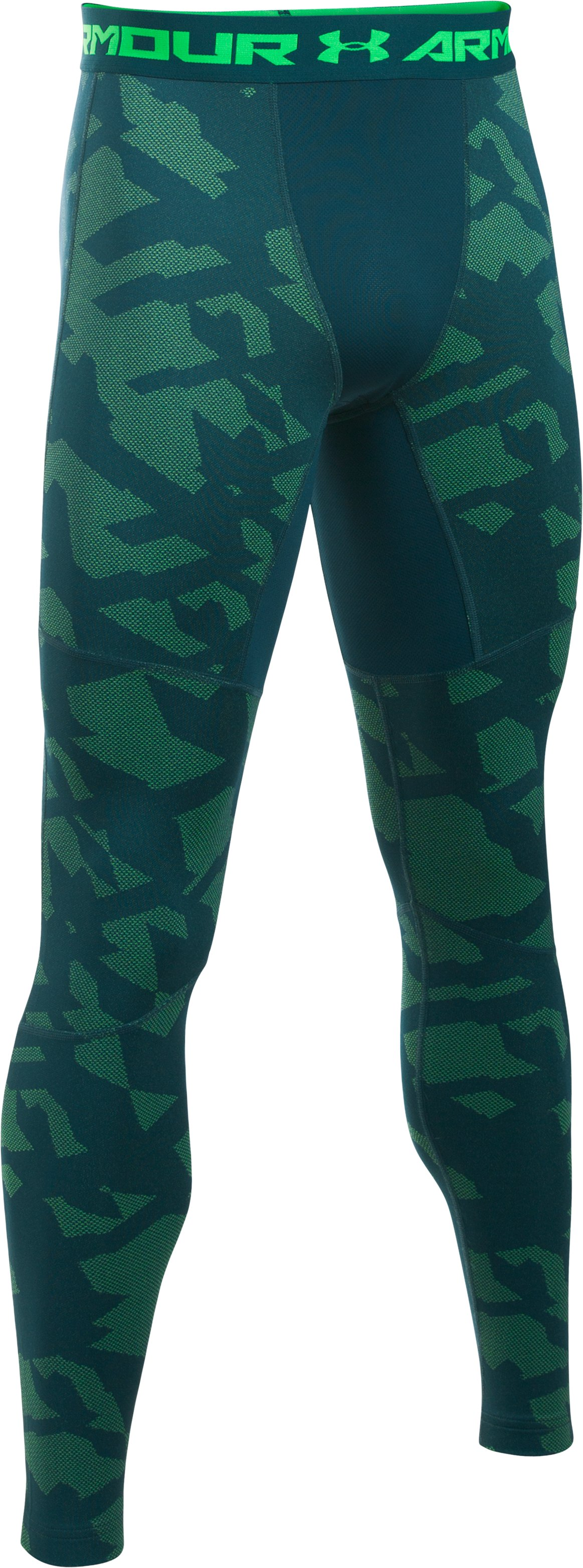 Men's UA ColdGear® Armour Jacquard Compression Leggings, NOVA TEAL, undefined