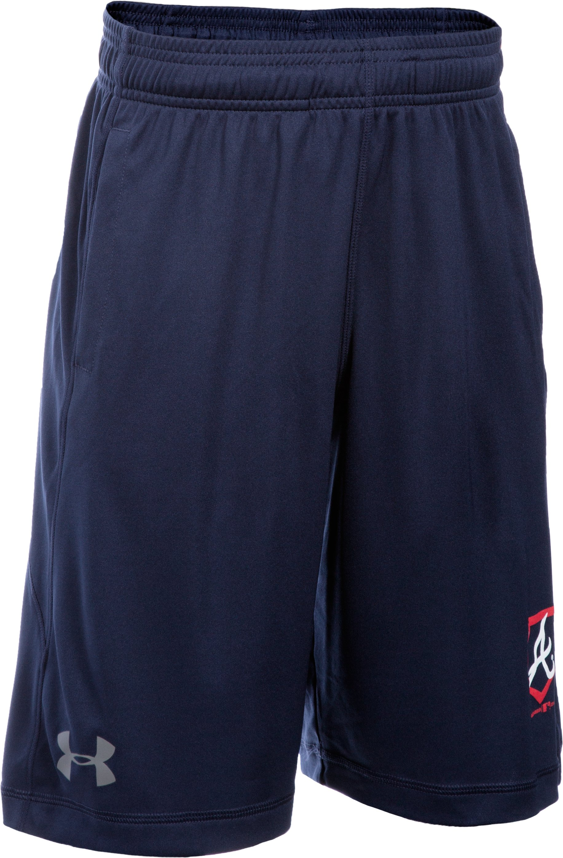 Boys' Atlanta Braves UA Raid Shorts, Midnight Navy