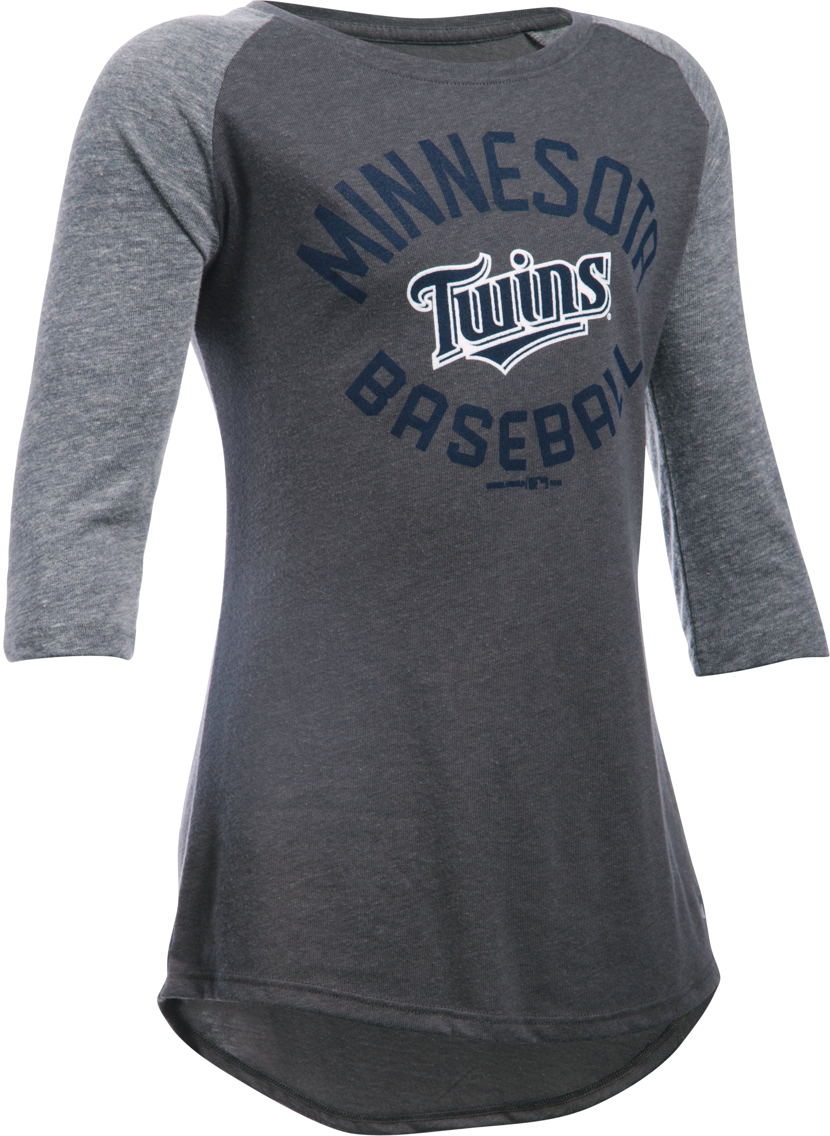 Girls' Minnesota Twins UA Tri-Blend ¾ Sleeve, Carbon Heather, zoomed image