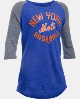 Girls' New York Mets UA Tri-Blend ¾ Sleeve