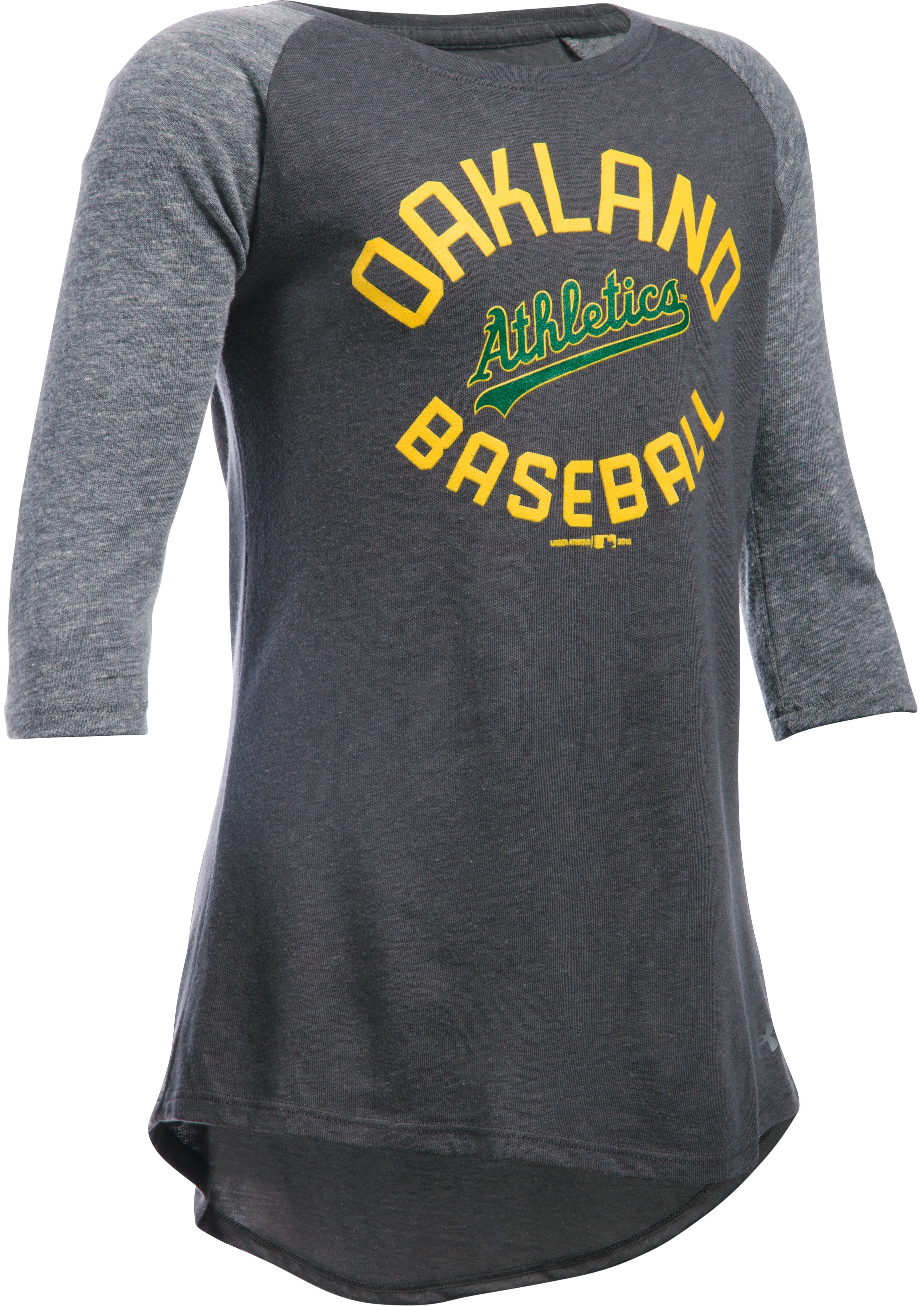 Girls' Oakland Athletics UA Tri-Blend ¾ Sleeve, Carbon Heather