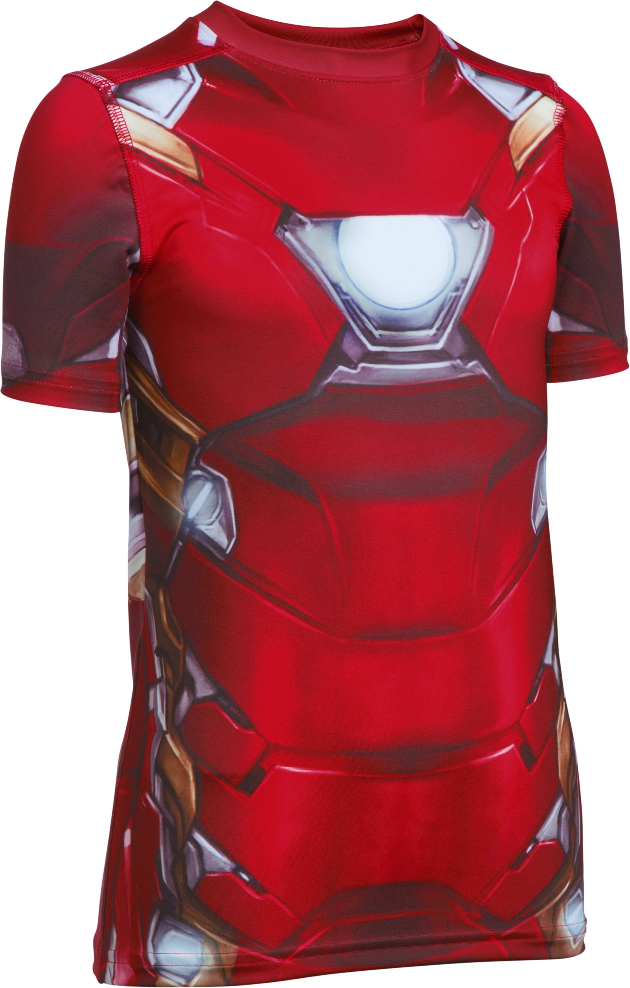 Boys' Under Armour® Alter Ego Iron Man Suit Short Sleeve, Cardinal, zoomed image
