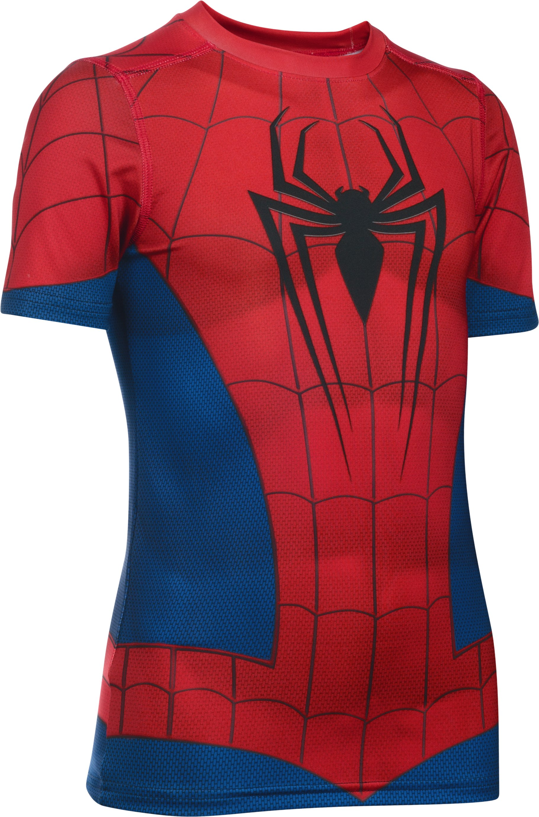 youth large shirts Boys' Under Armour® Alter Ego Spider-Man Fitted Shirt What I mean is that the print is shaded to fit a smaller person, so the shading ended up across my chest, rather then below it _ it looked really funny....It didn't fit right either, since it was a youth size; really supper baggy around the waste and pretty stretched across the chest....I'm 6 feet with a 40 inch chest and 30 inch waste, so I thought I would try ordering the largest boys size, and it almost worked out except that the print didn't line up.