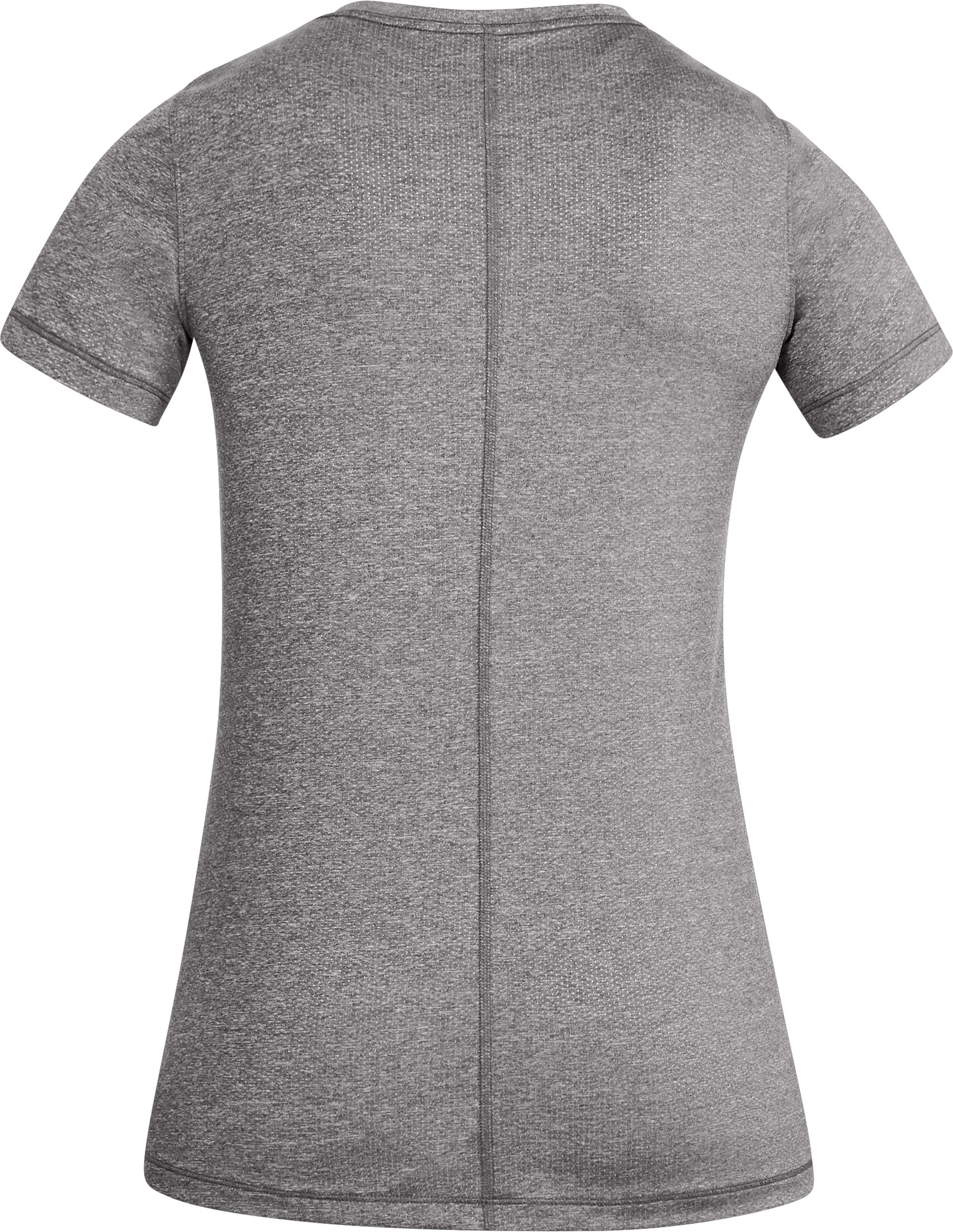 Women's HeatGear® Short Sleeve, CHARCOAL LIGHT HEATHER,