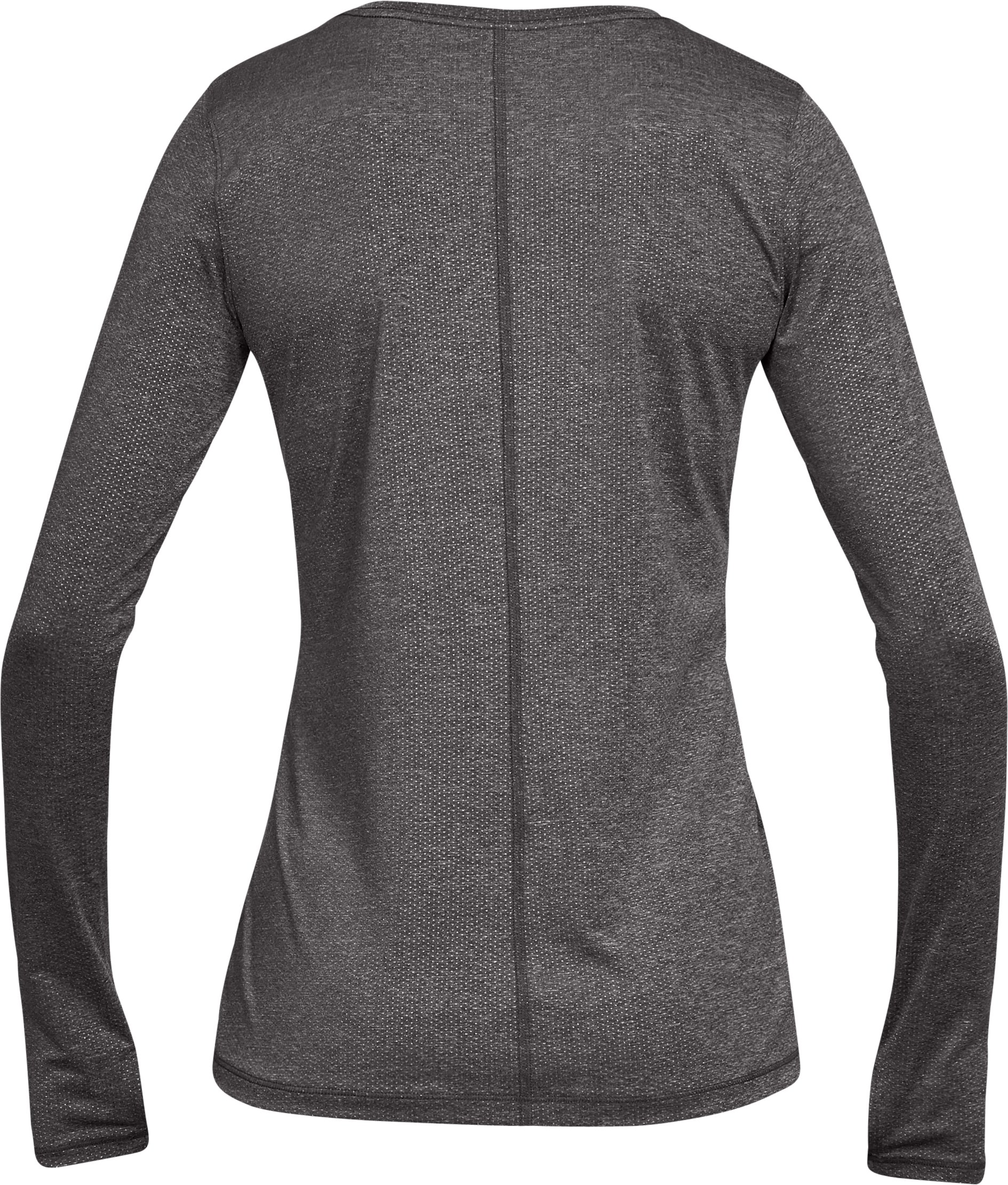 Women's UA HeatGear® Armour Long Sleeve, CHARCOAL LIGHT HEATHER, undefined