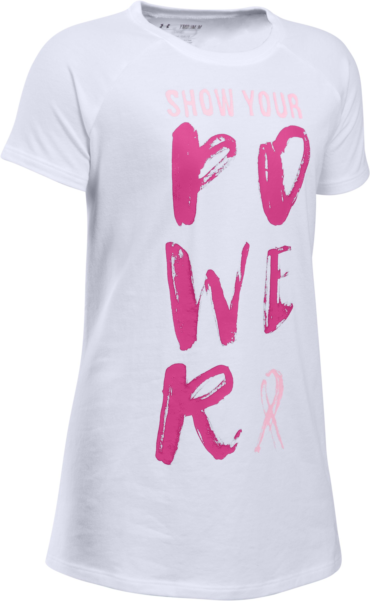 Girls' UA Power In Pink® Show Your Power T-Shirt, White