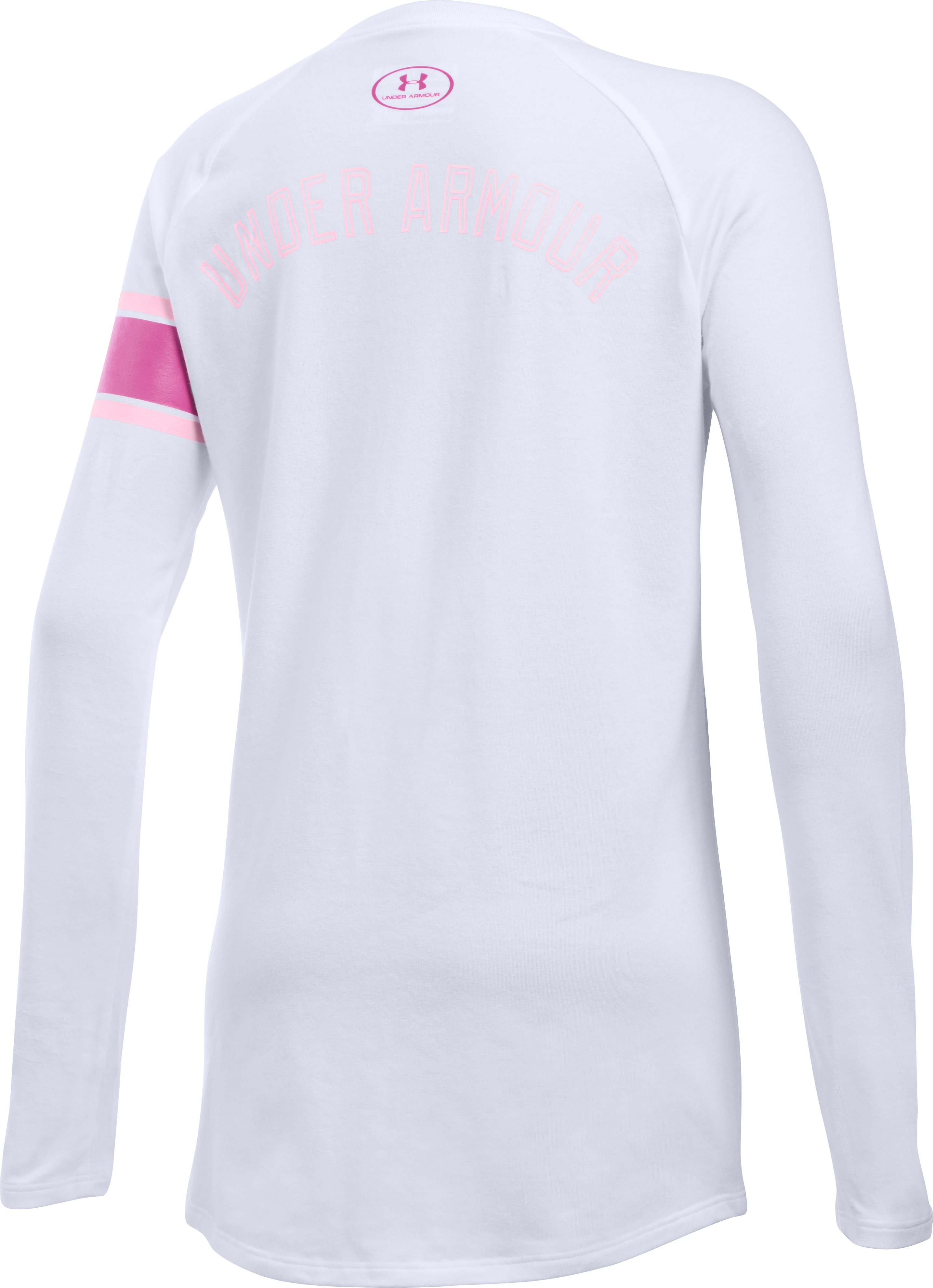 Girls' UA Power In Pink® Ribbon Long Sleeve T-Shirt, White
