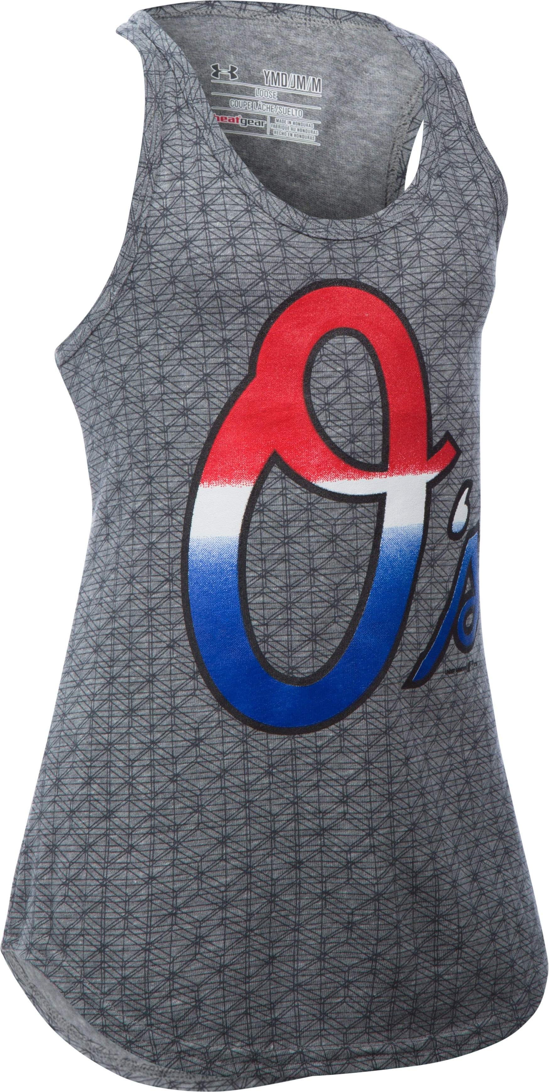 Girls' Baltimore Orioles UA Tri-Blend Tank, True Gray Heather, zoomed image