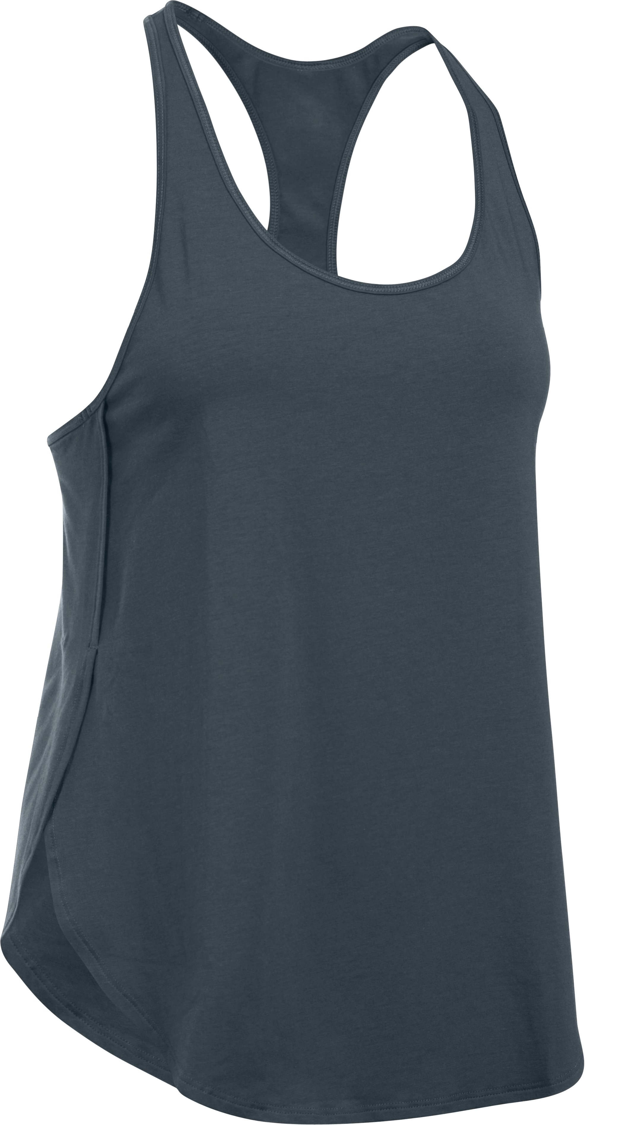Women's UA Essential Racer Tank, STEALTH GRAY