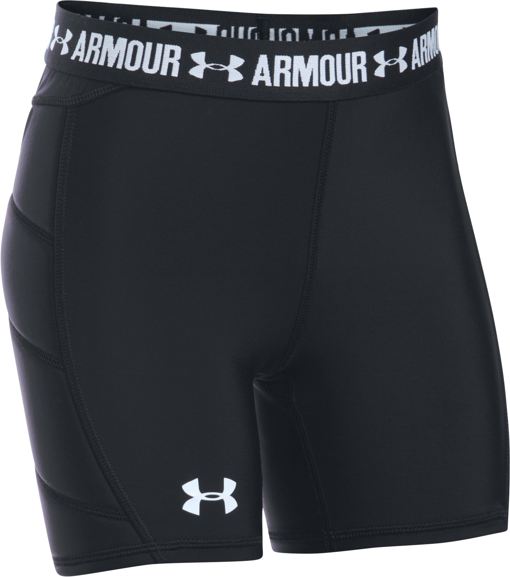Girls' UA Softball Slider, Black , zoomed image