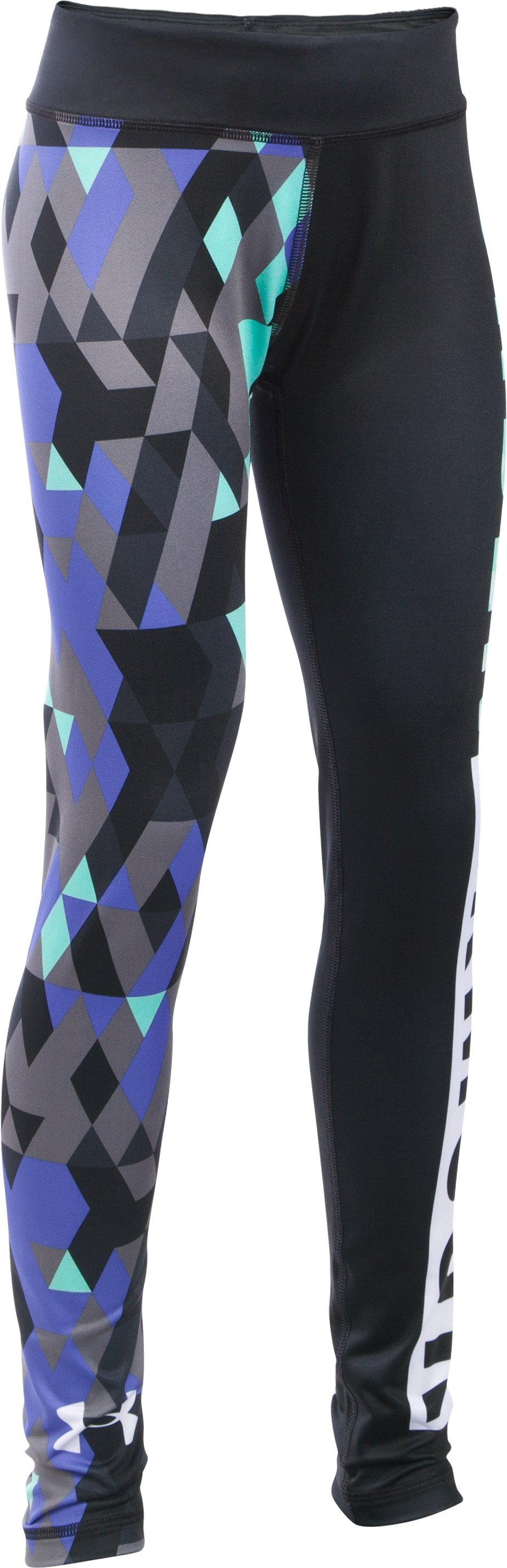 Girls' UA Mix Master Tri Meta Leggings, Black