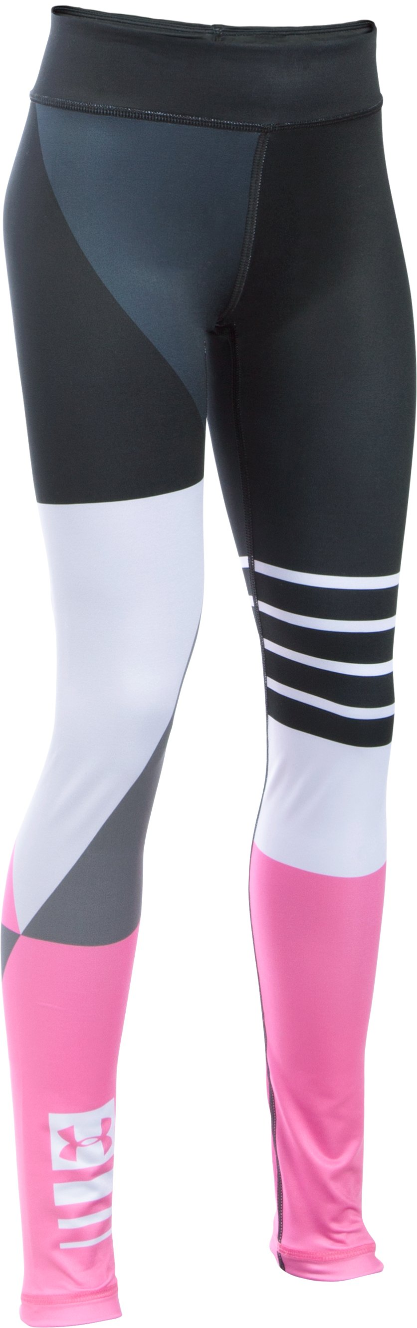 Girls' UA Mix  Master Stripe Logo Leggings, Black , undefined