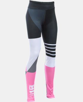 New Arrival  Girls' UA Mix  Master Stripe Logo Leggings   $64.99