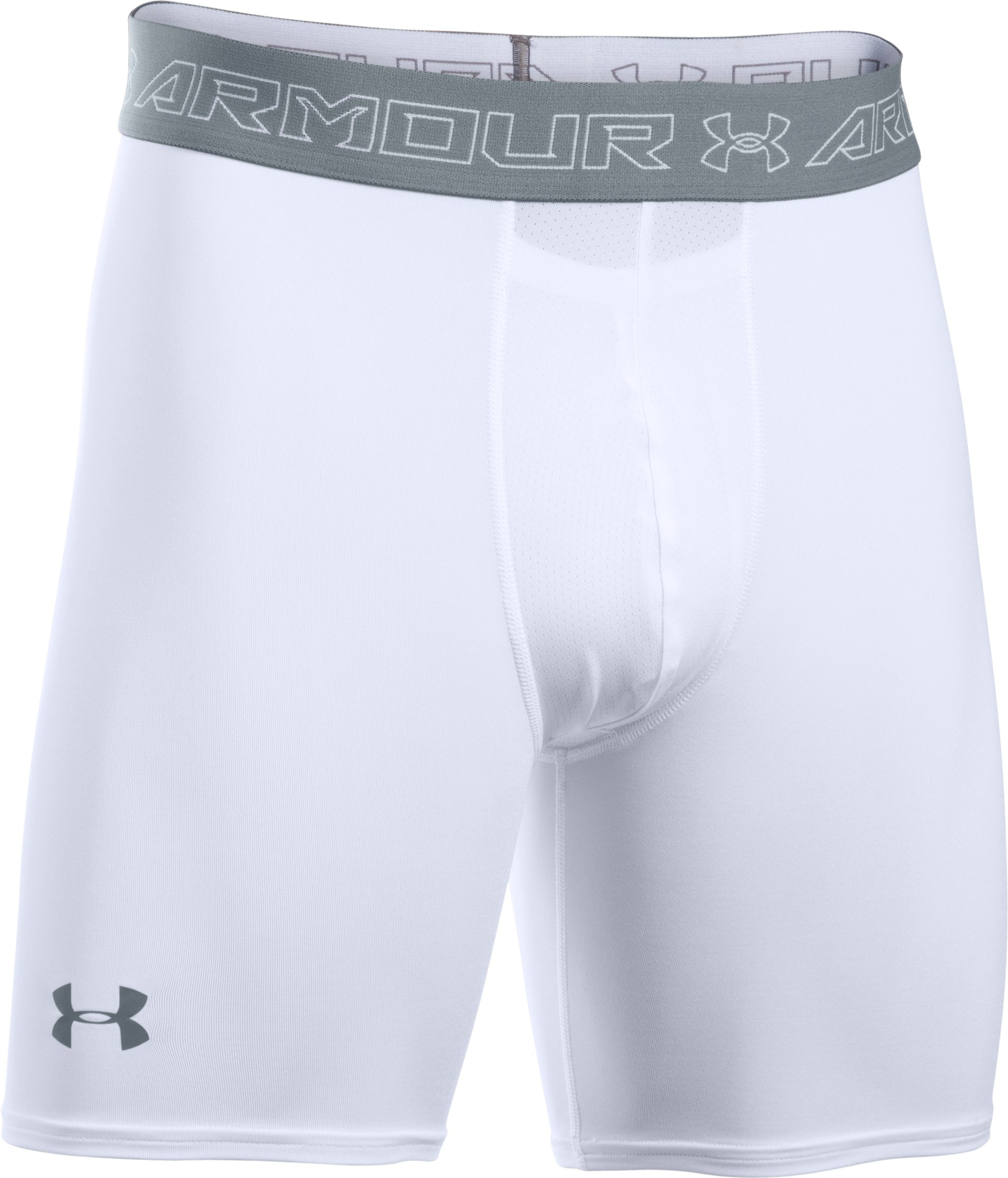 Men's UA HeatGear® Armour Compression Shorts w/ Cup Pocket, White