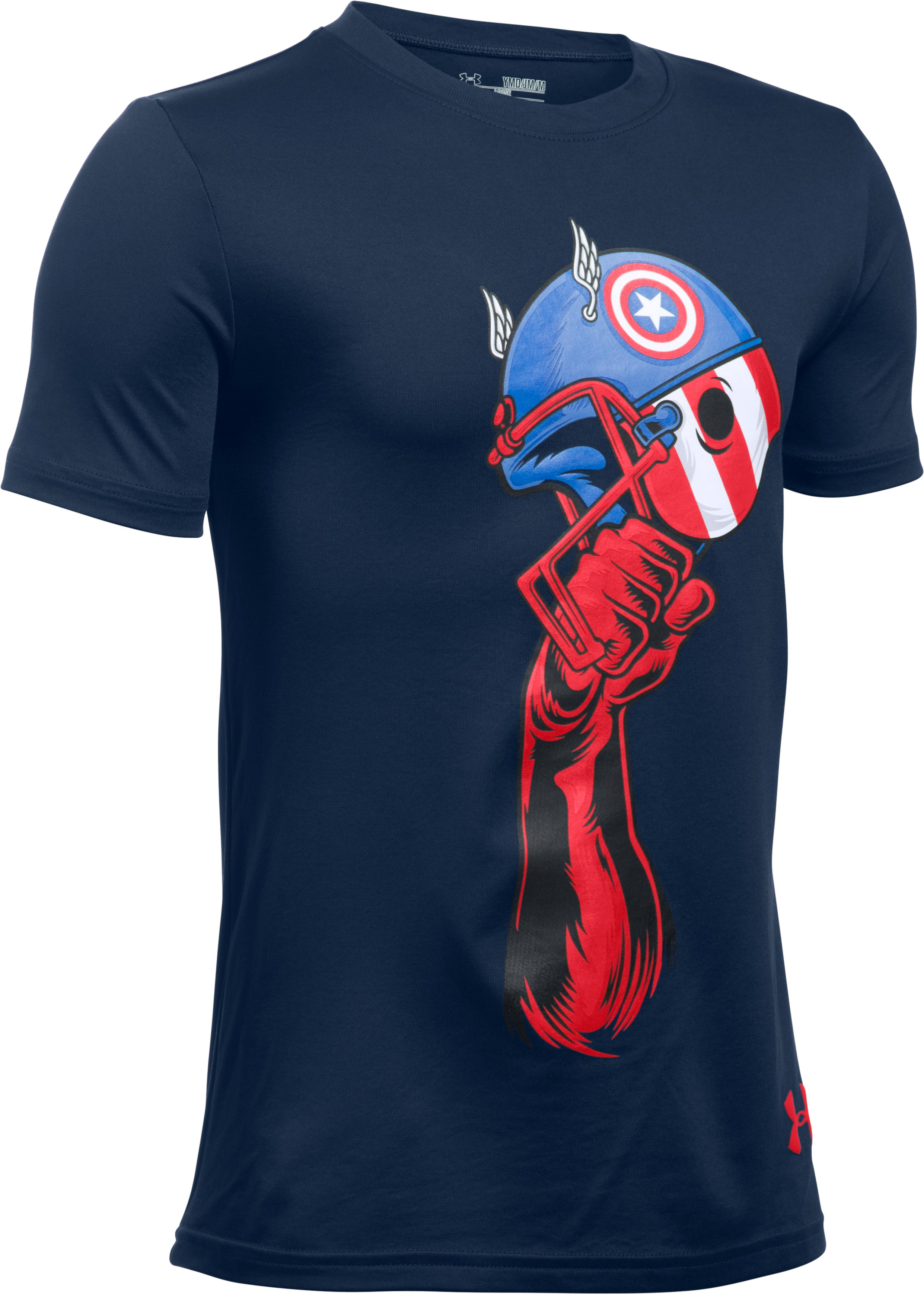 Boys' Under Armour® Alter Ego Captain America Helmet T- Shirt, NAVY SEAL