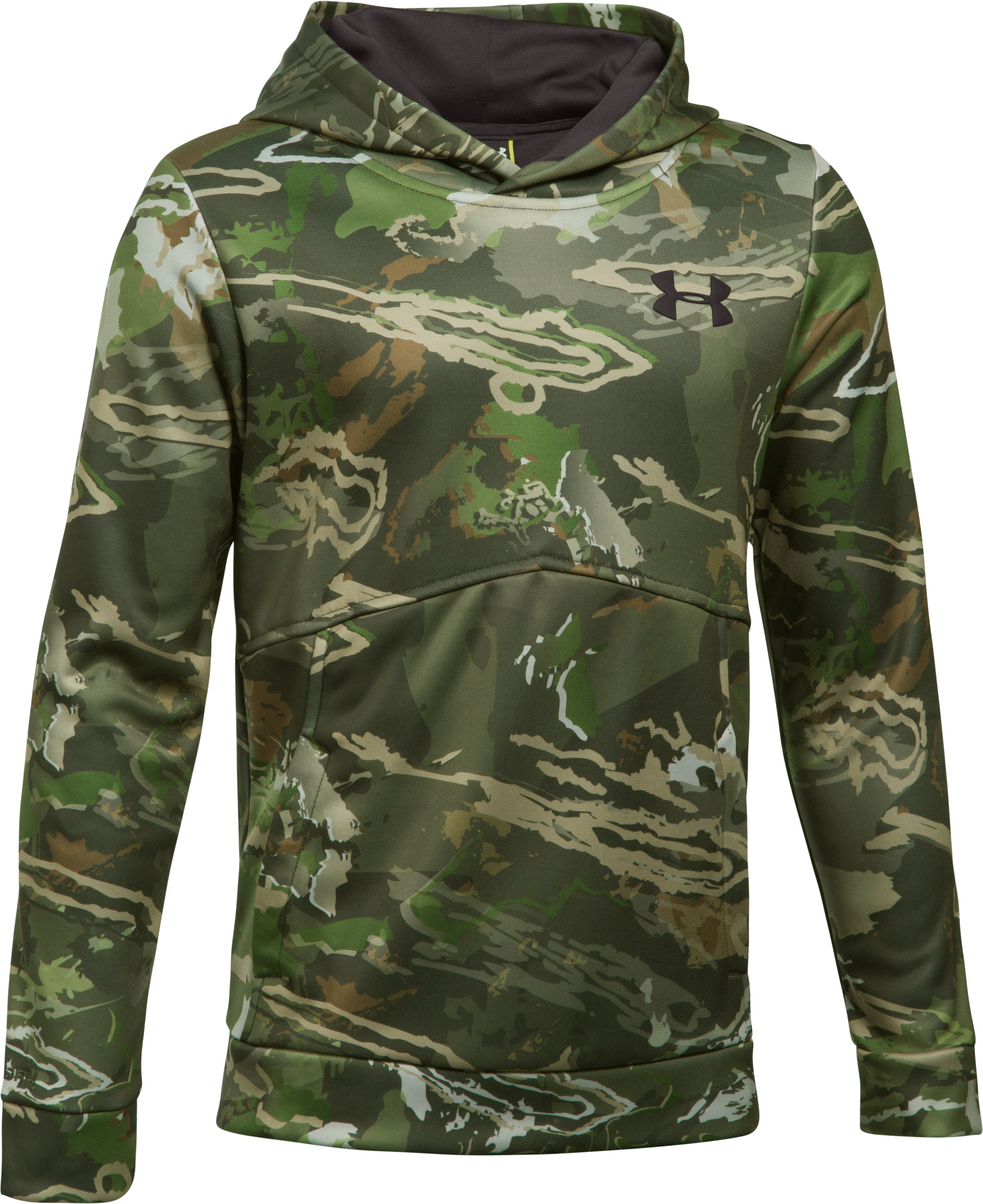 Boys' UA Logo Camo Hoodie, RIDGE REAPER® FOREST, undefined