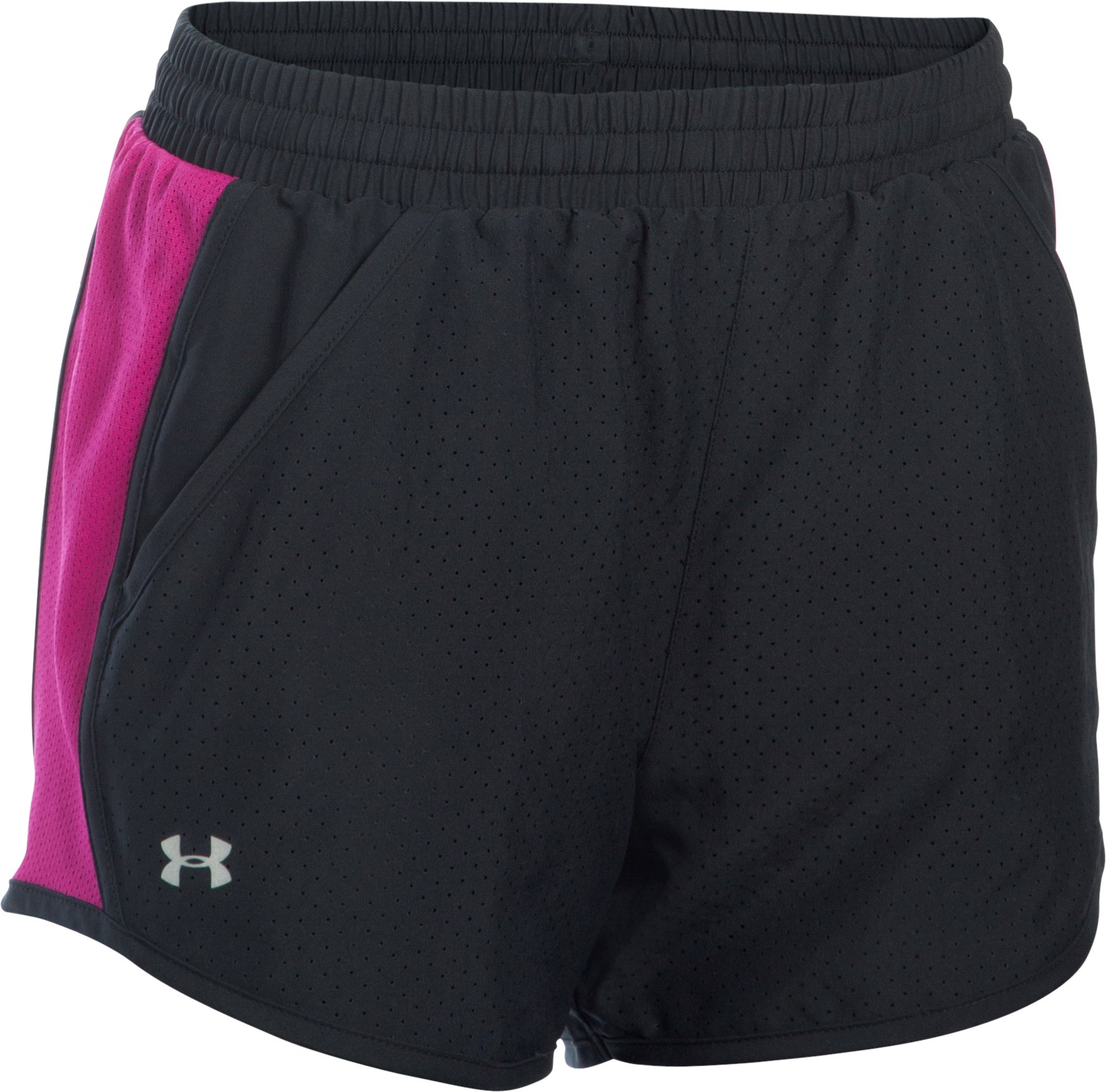 Women's UA Fly-By Perforated Run Shorts, Black ,