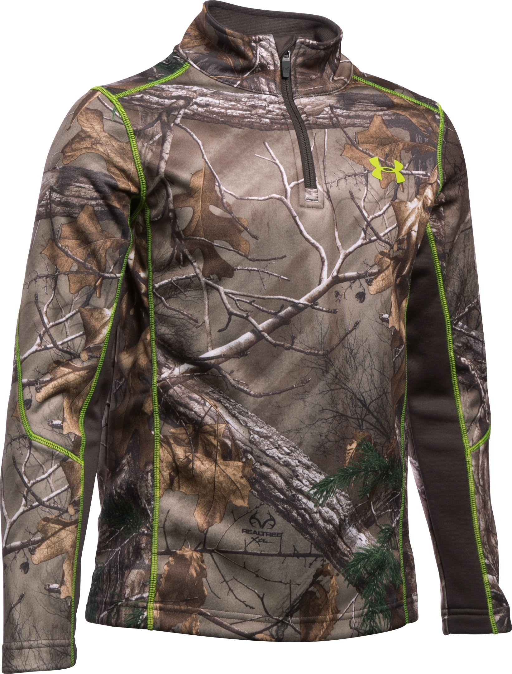 Boys' UA Armour® Fleece Scent Control 1/4 Zip, REALTREE AP-XTRA, zoomed image