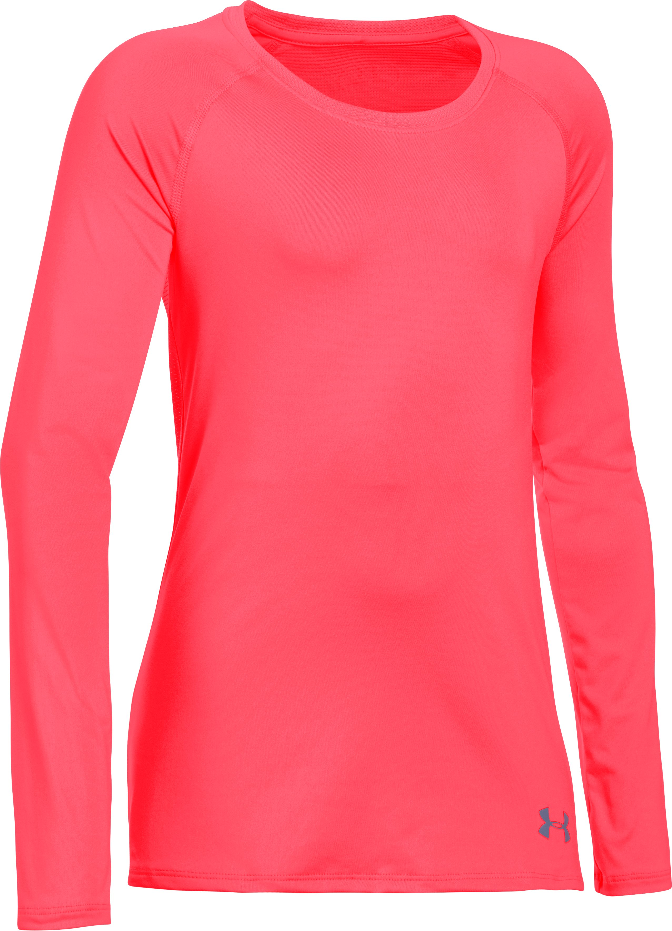 Girls' HeatGear® Armour Long Sleeve, PINK CHROMA,