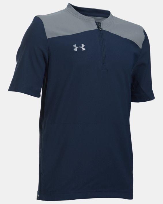 Boys' UA Triumph Short Sleeve Cage Jacket, Navy, pdpMainDesktop image number 0