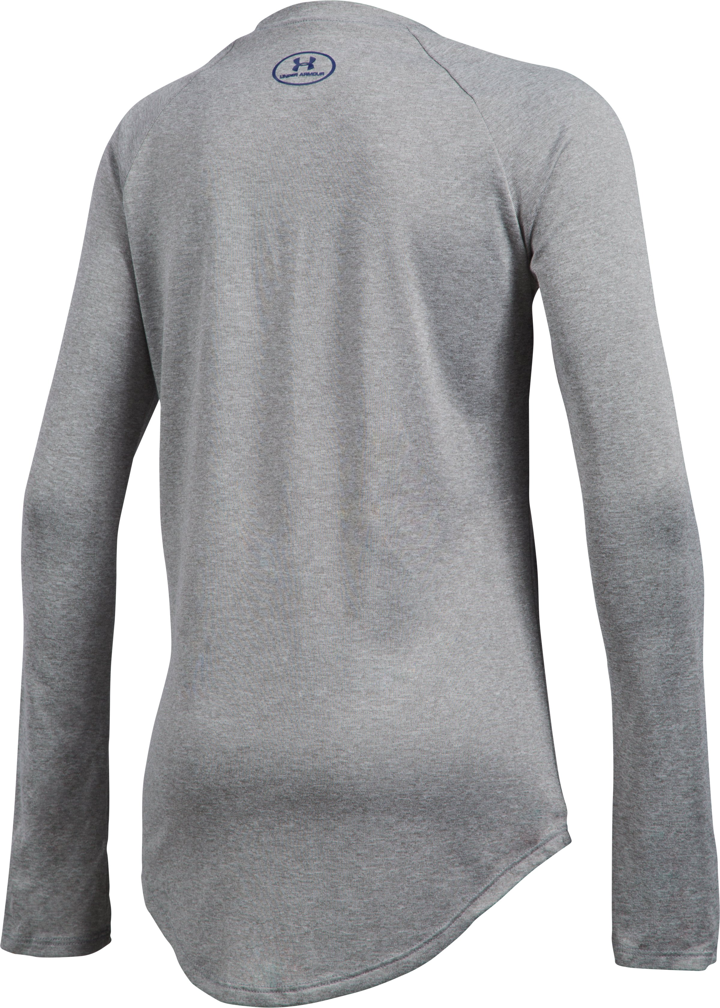 Girls' UA Horizontal Fade Long Sleeve, True Gray Heather, undefined