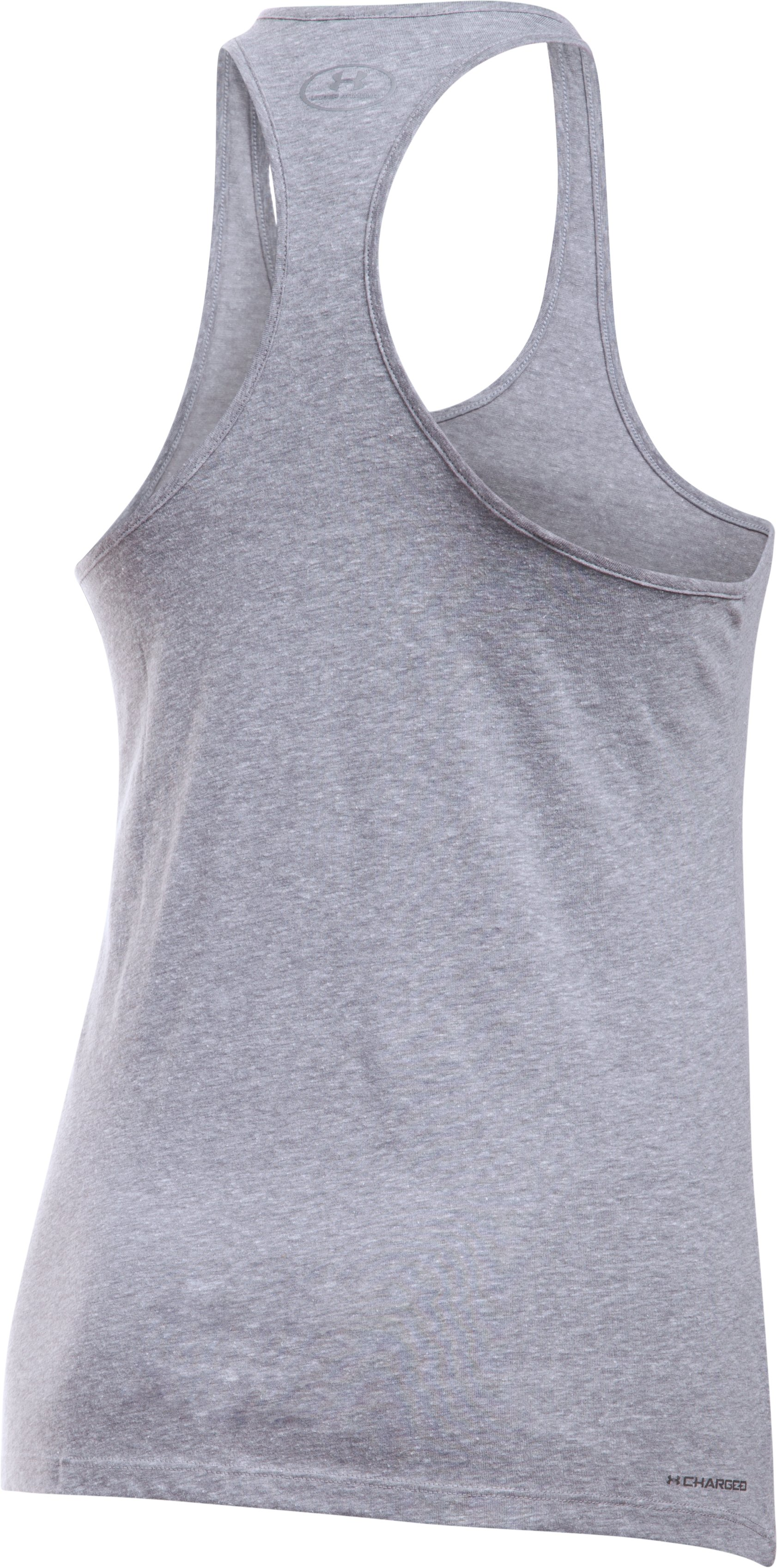 Women's UA Foil Word Mark Tank, True Gray Heather