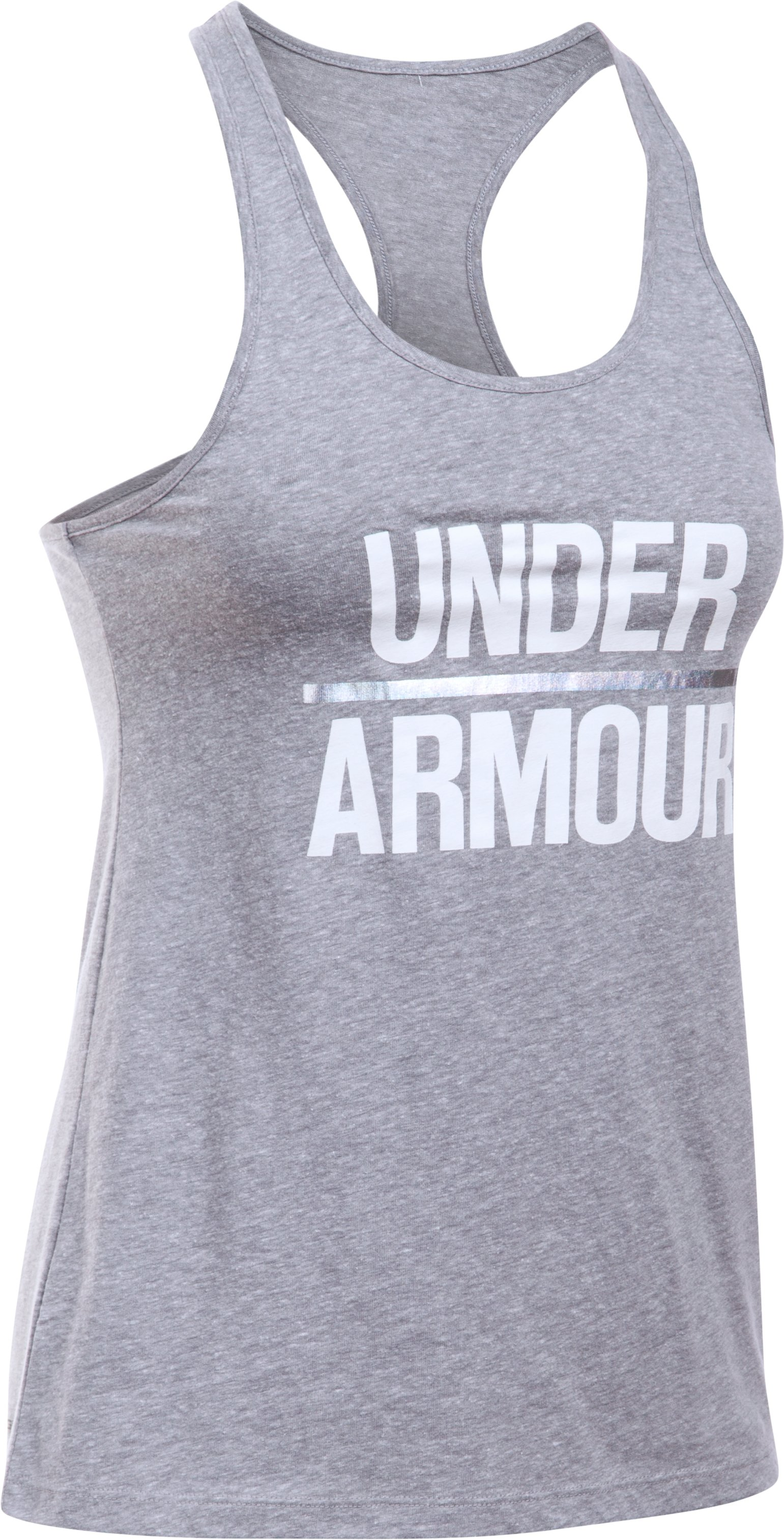 Women's UA Foil Word Mark Tank, True Gray Heather,