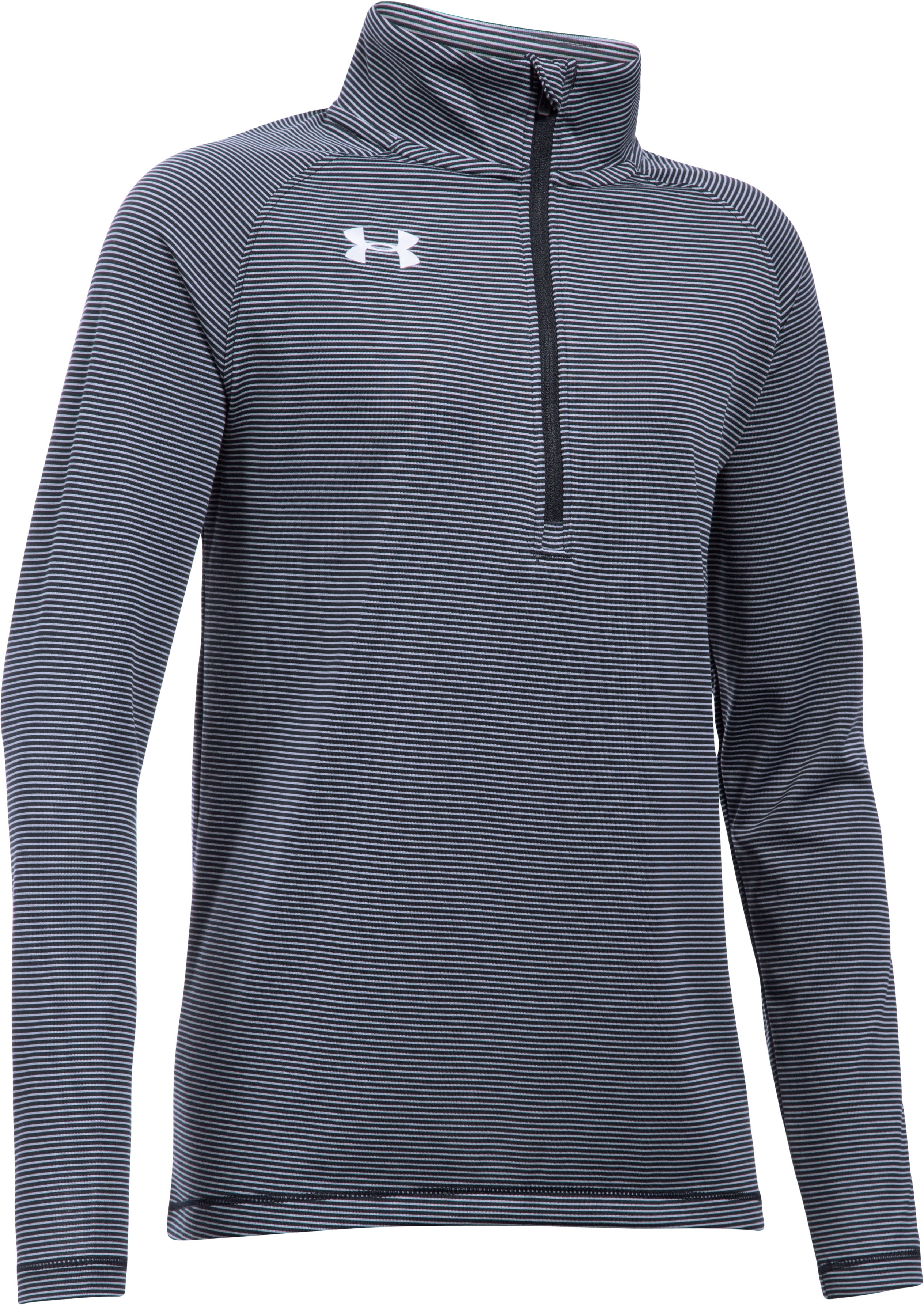 Girls' UA Tech™ Stripe ¼ Zip, Black