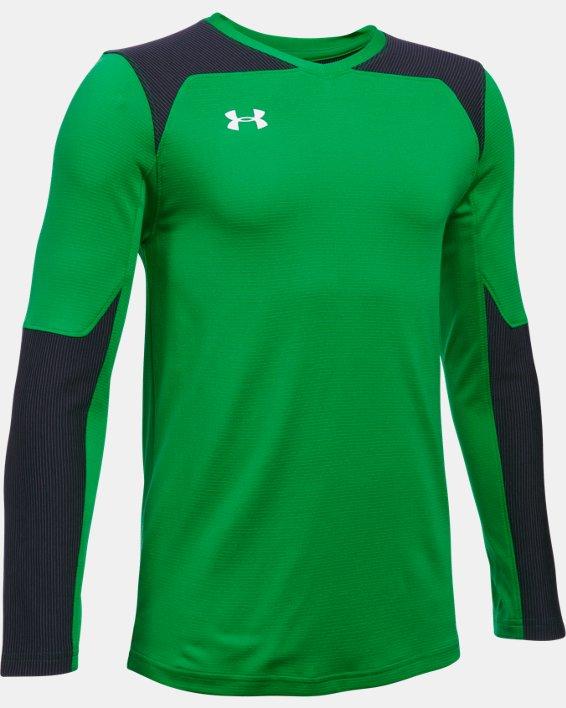Kids' UA Threadborne Wall Goalkeeper Jersey, Green, pdpMainDesktop image number 0