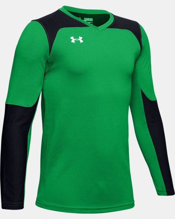 Kids' UA Threadborne Wall Goalkeeper Jersey, Green, pdpMainDesktop image number 1