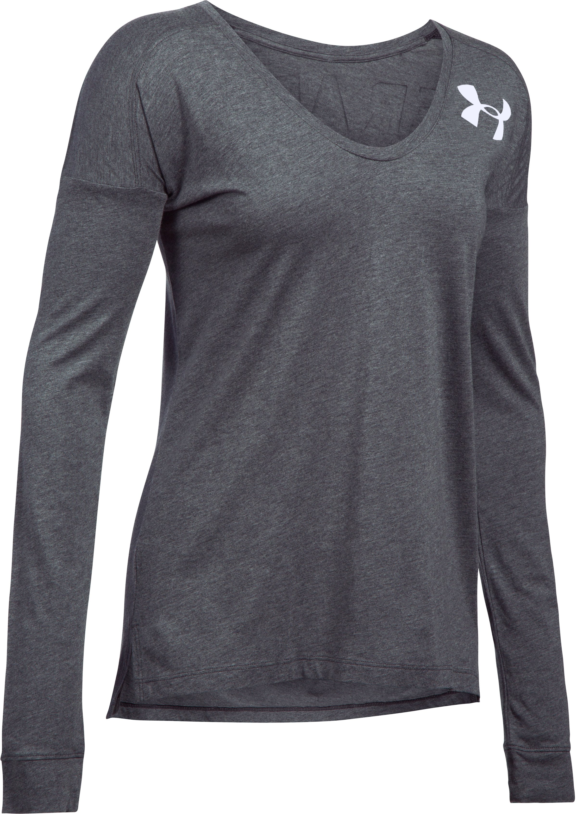 Women's UA Favorite Word Mark Long Sleeve, Carbon Heather, undefined