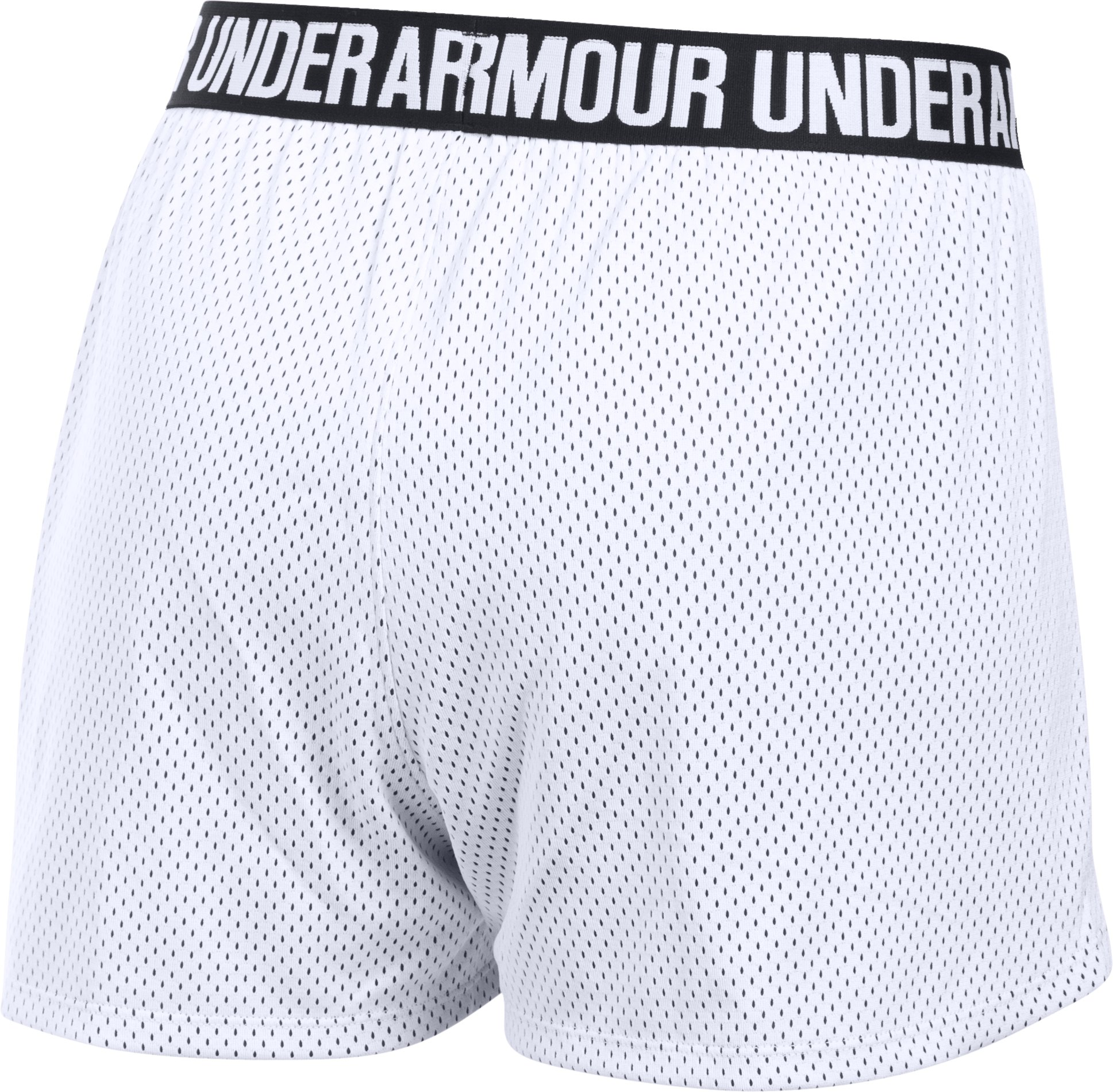 Women's UA Play Up Mesh Shorts, White, undefined