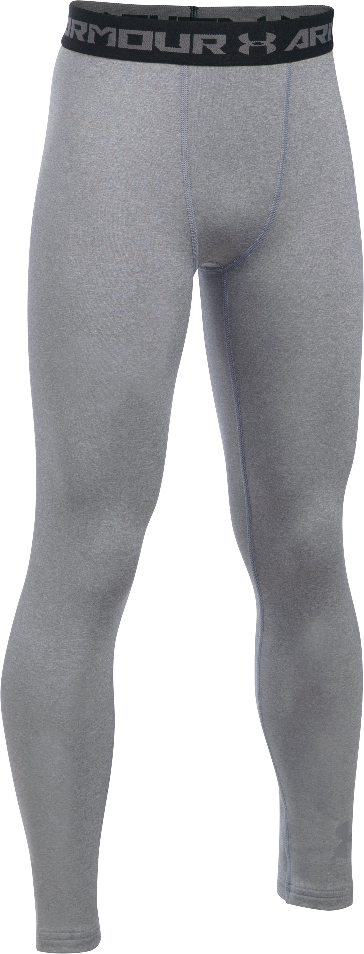 Boys' UA ColdGear® Armour Leggings, True Gray Heather, zoomed image