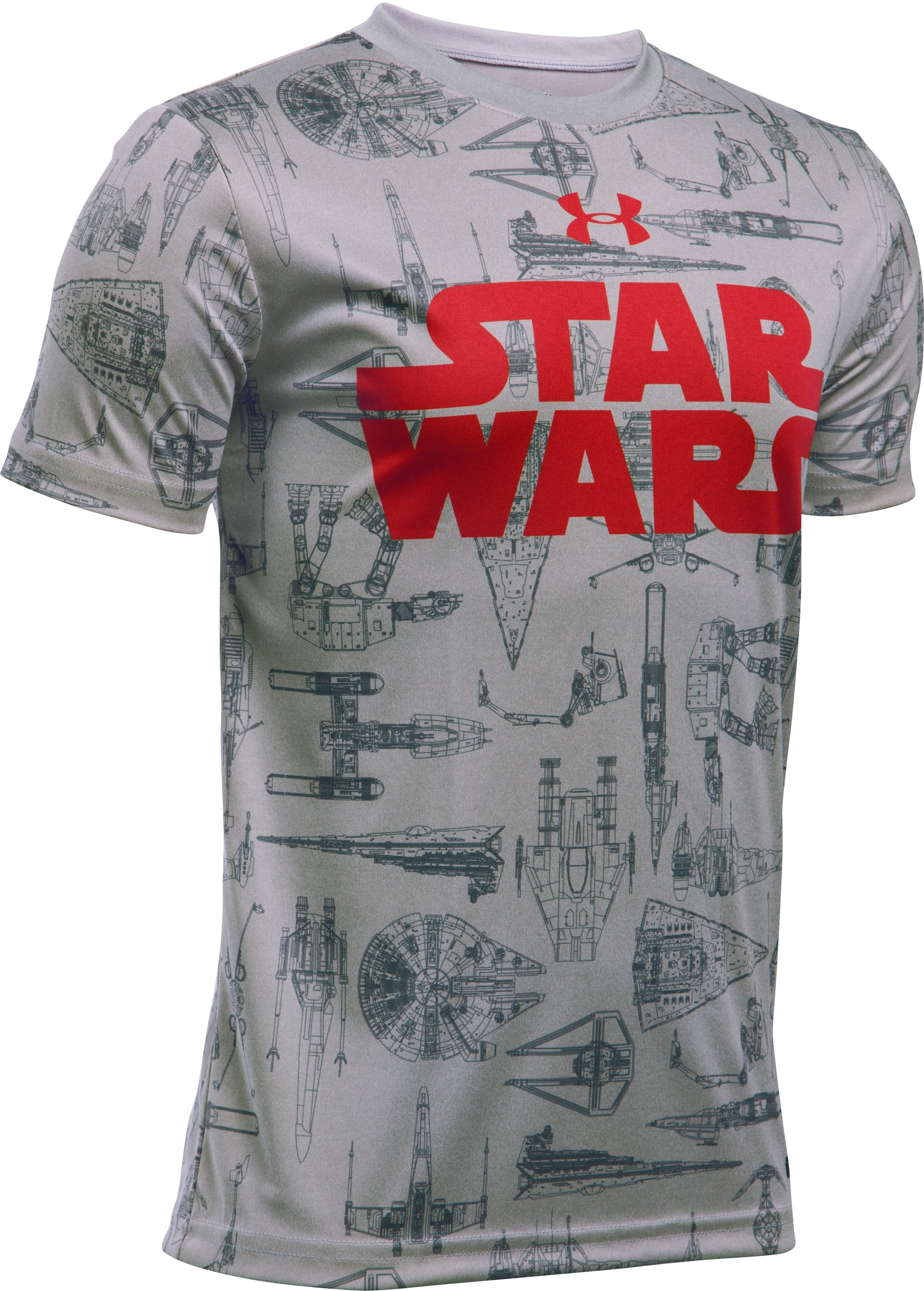 Boys' UA Star Wars Ships T-Shirt, True Gray Heather,