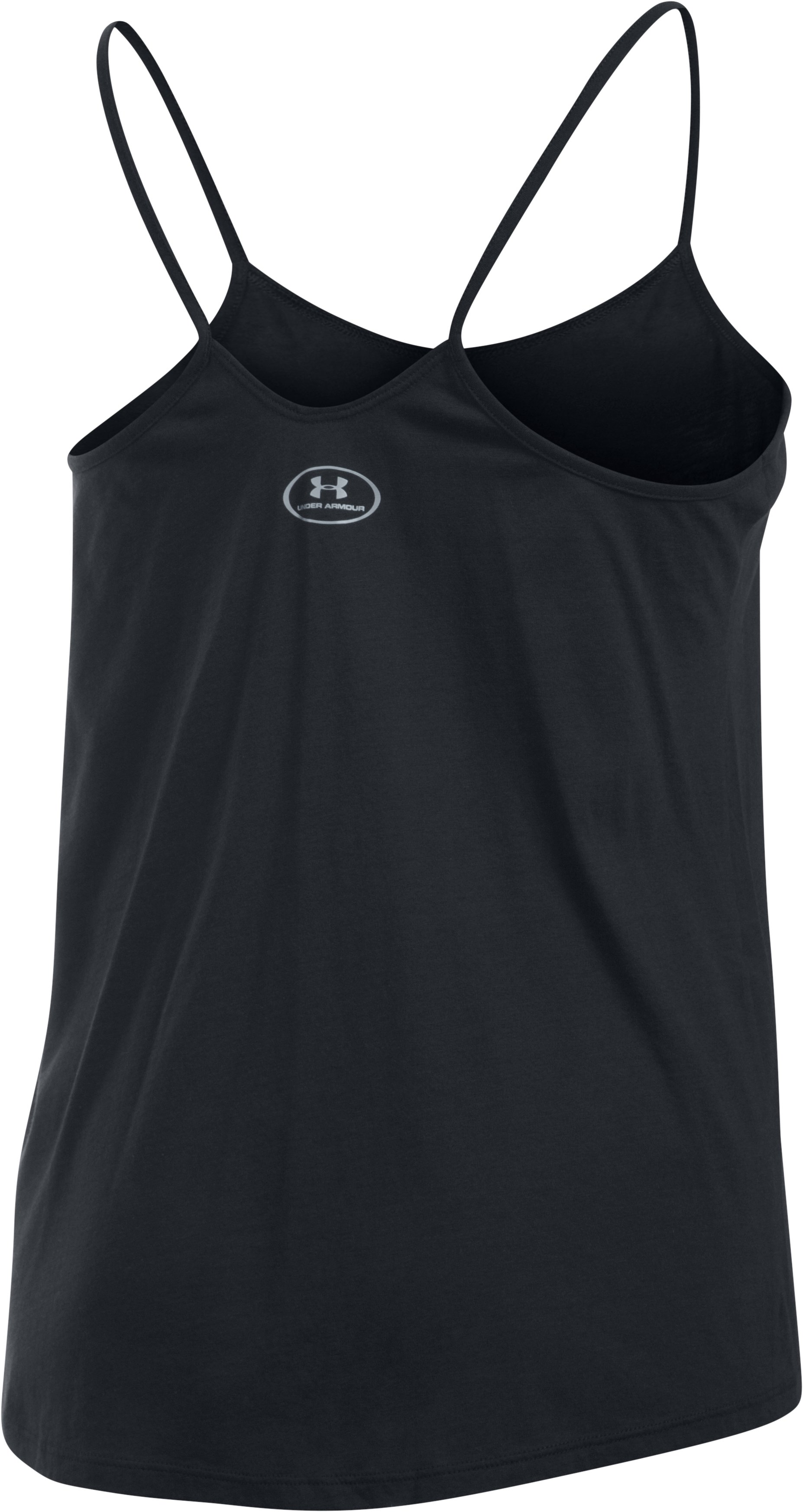 Women's UA Word Mark Strappy Tank, Black , undefined