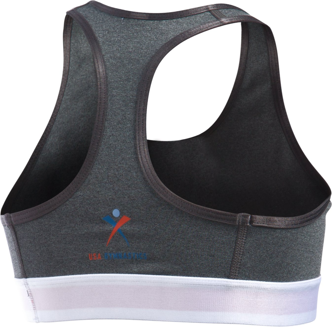 Girls' UA HeatGear® Armour GYMNAST Sports Bra, Carbon Heather,