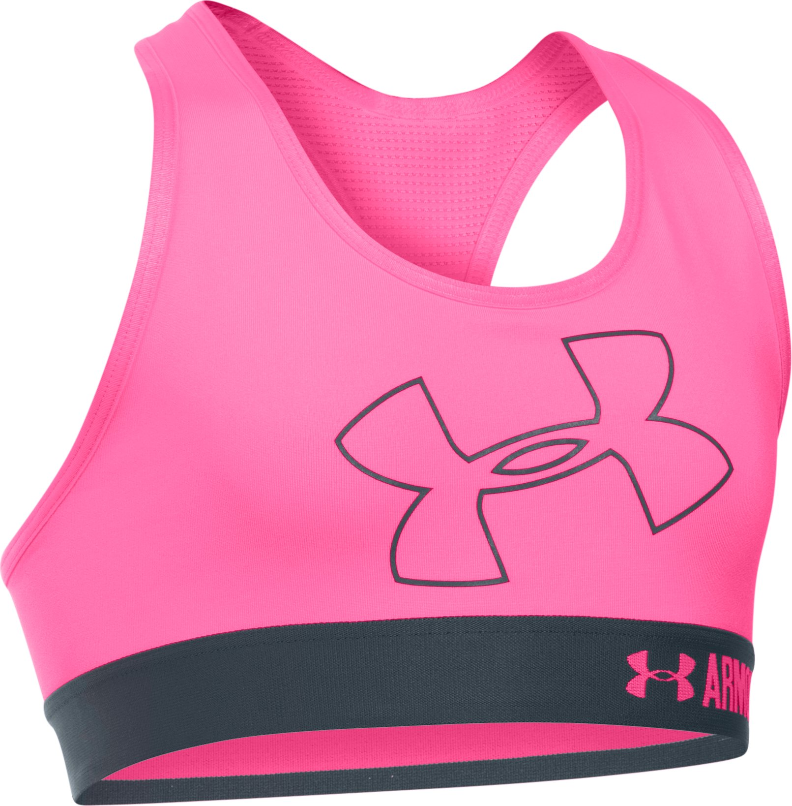 Girls' UA HeatGear® Armour Solid Logo Sports Bra, PINK PUNK, undefined