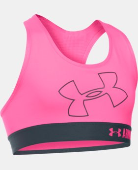 New Arrival  Girls' UA HeatGear® Armour Logo Sports Bra LIMITED TIME: FREE SHIPPING 1 Color $29.99
