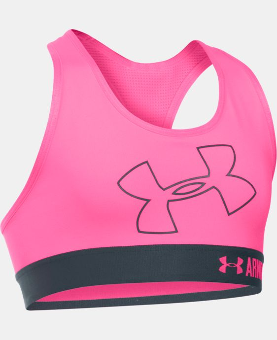 New Arrival  Girls' UA HeatGear® Armour Logo Sports Bra LIMITED TIME: FREE SHIPPING 3 Colors $29.99