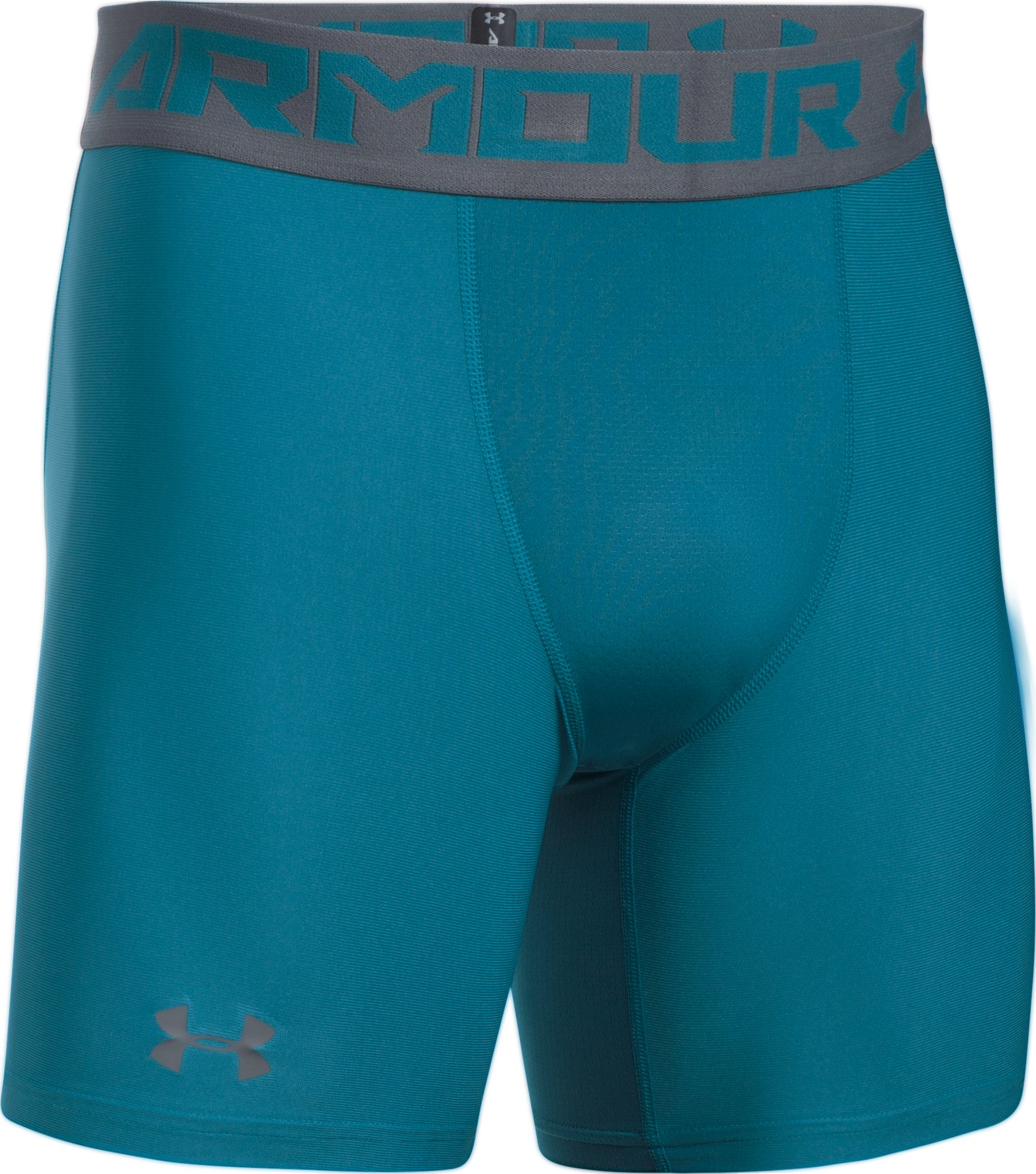 Men's HeatGear® Armour Mid Compression Shorts, BAYOU BLUE, undefined