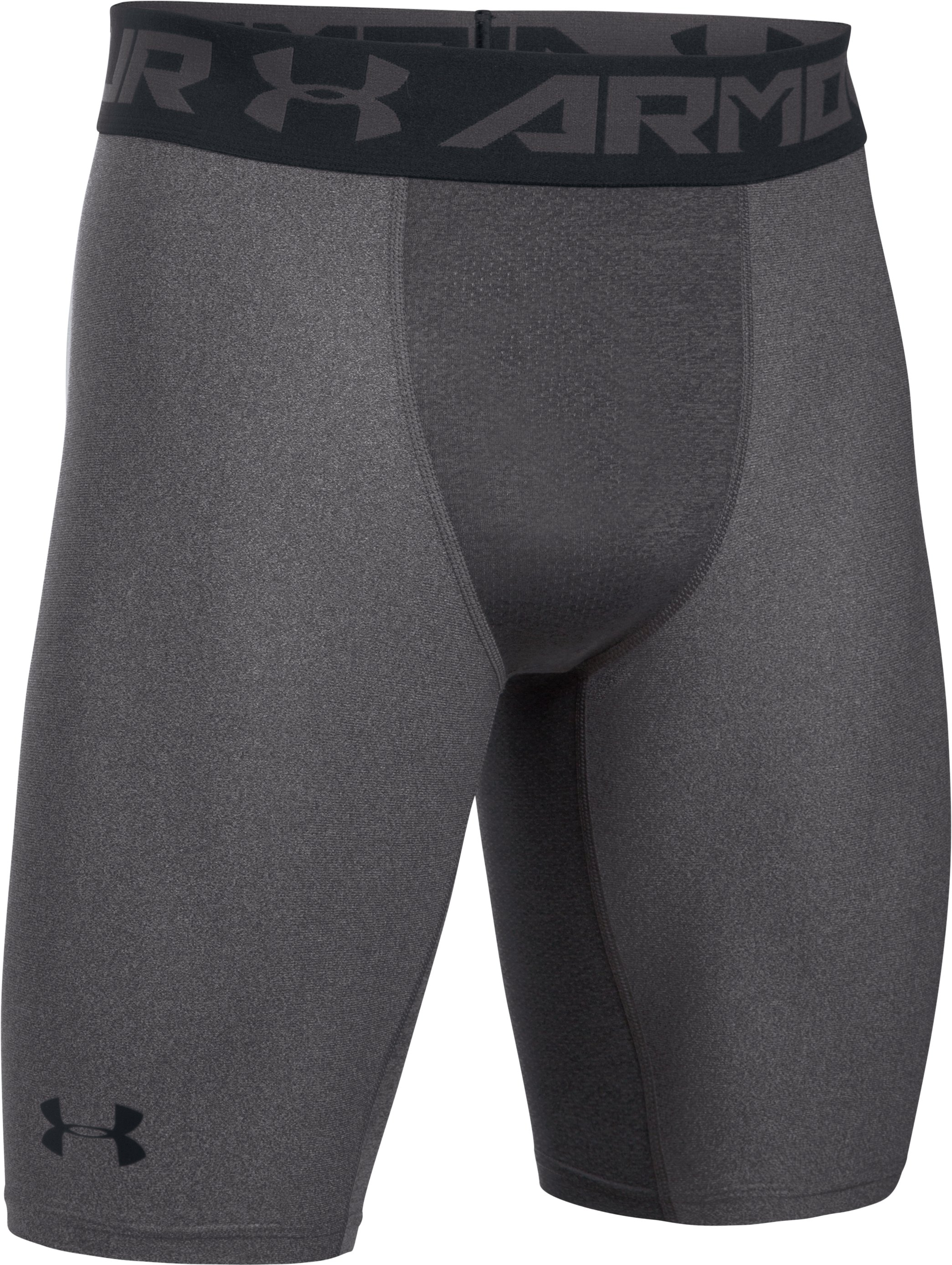 Men's HeatGear® Armour Long Compression Shorts, Carbon Heather, undefined