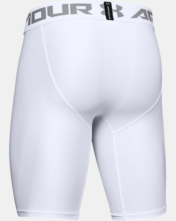 Men's HeatGear® Armour Long Compression Shorts, White, pdpMainDesktop image number 7
