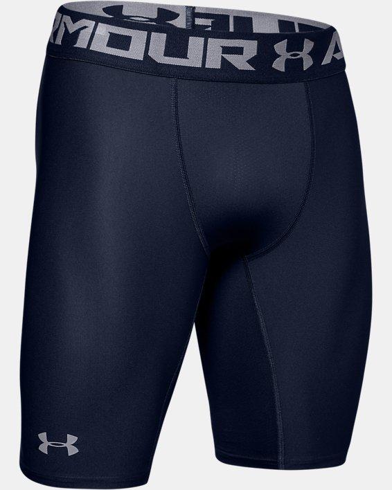 Men's HeatGear® Armour Long Compression Shorts, Navy, pdpMainDesktop image number 6
