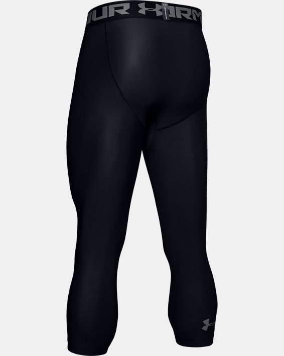 Men's HeatGear® Armour Compression ¾ Leggings, Black, pdpMainDesktop image number 6