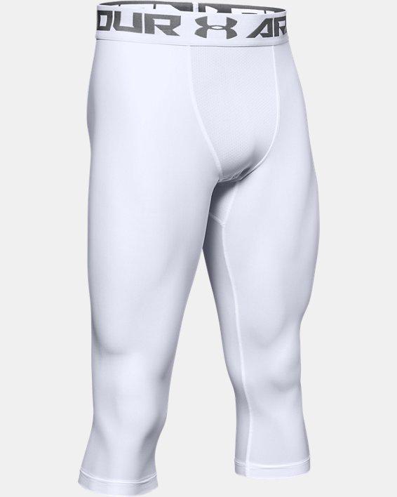 Men's HeatGear® Armour Compression ¾ Leggings, White, pdpMainDesktop image number 6