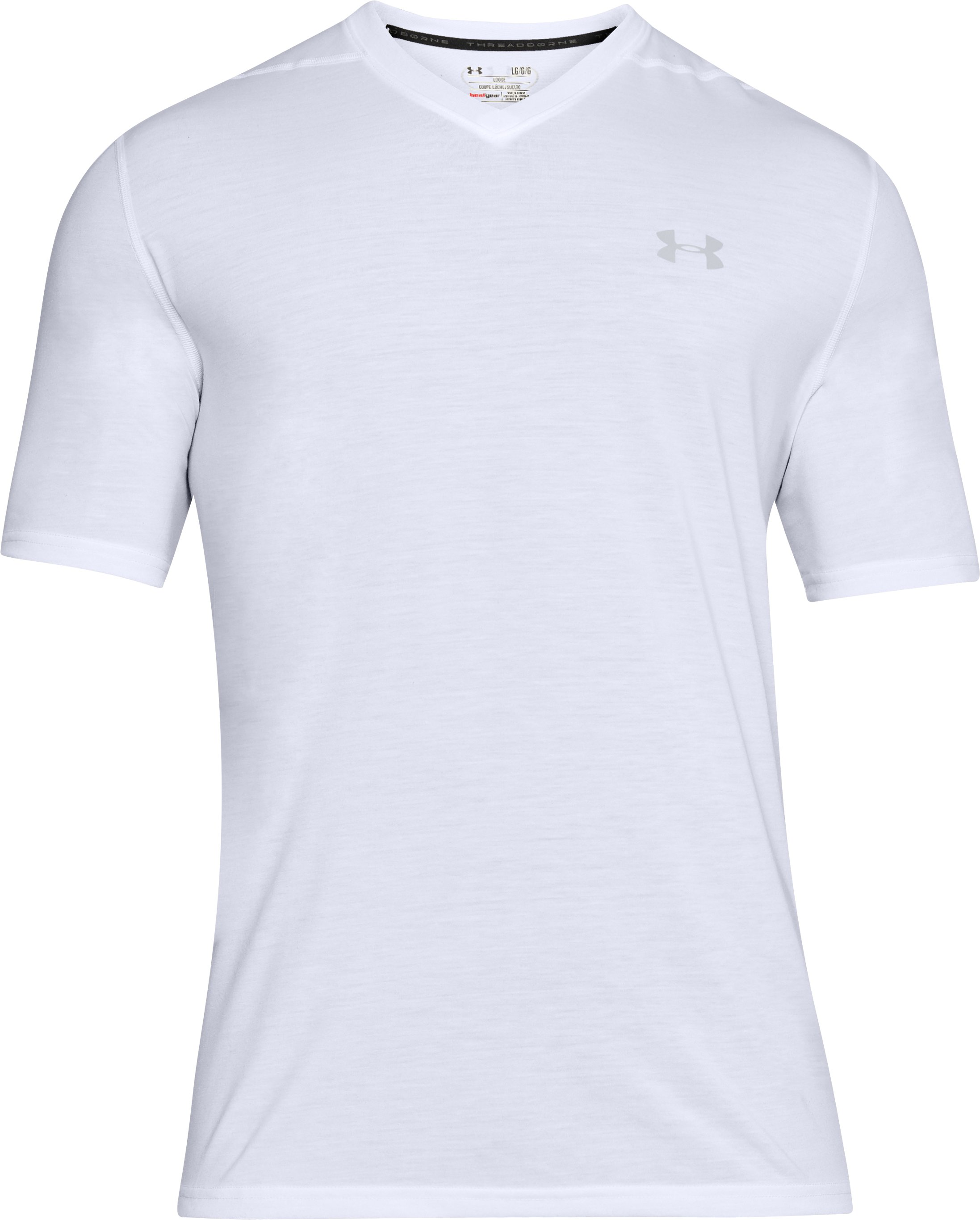 Men's UA Threadborne Siro V-Neck T-Shirt, White, undefined