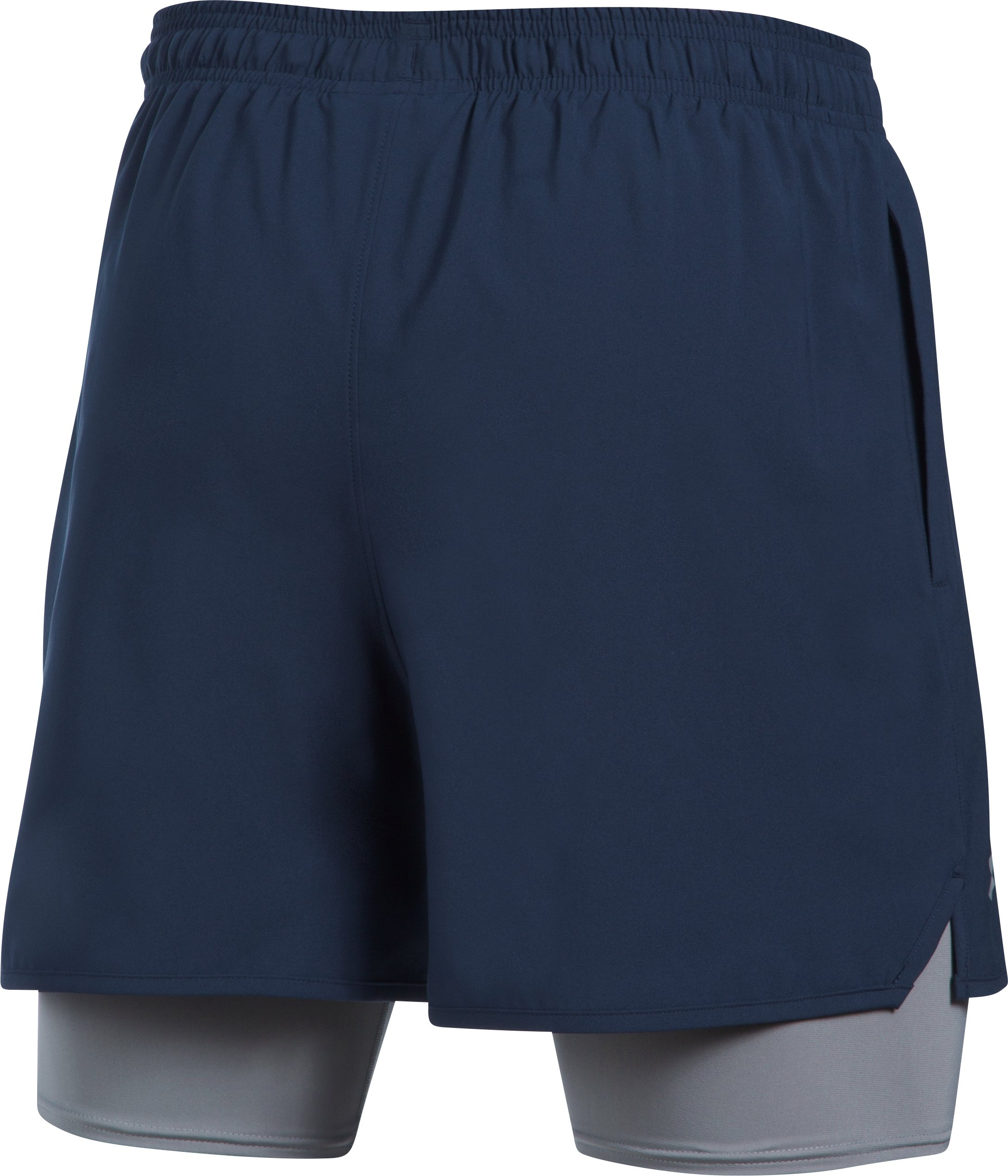 Men's UA Qualifier 2-in-1 Shorts, Midnight Navy,