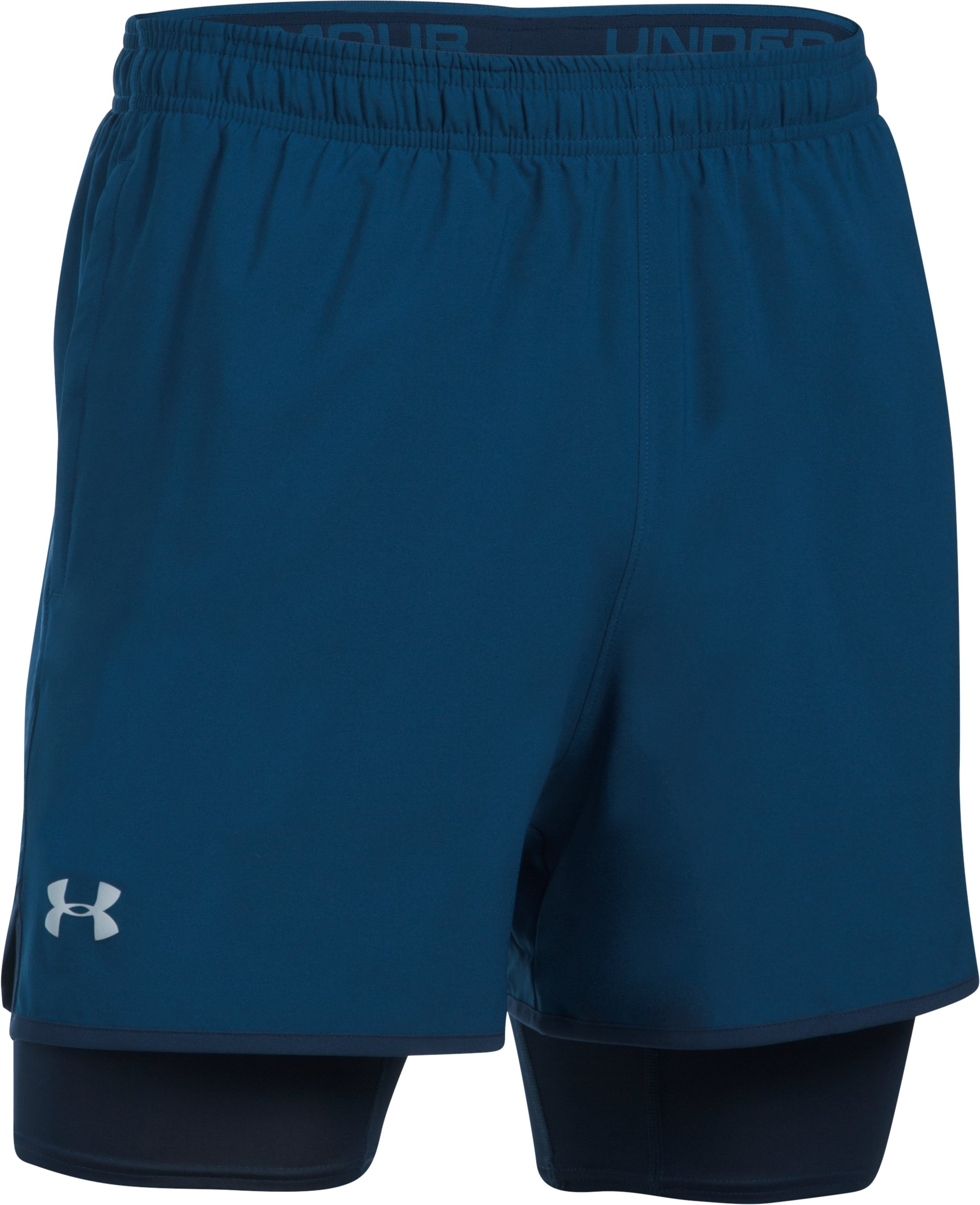 Men's UA Qualifier 2-in-1 Shorts, BLACKOUT NAVY,